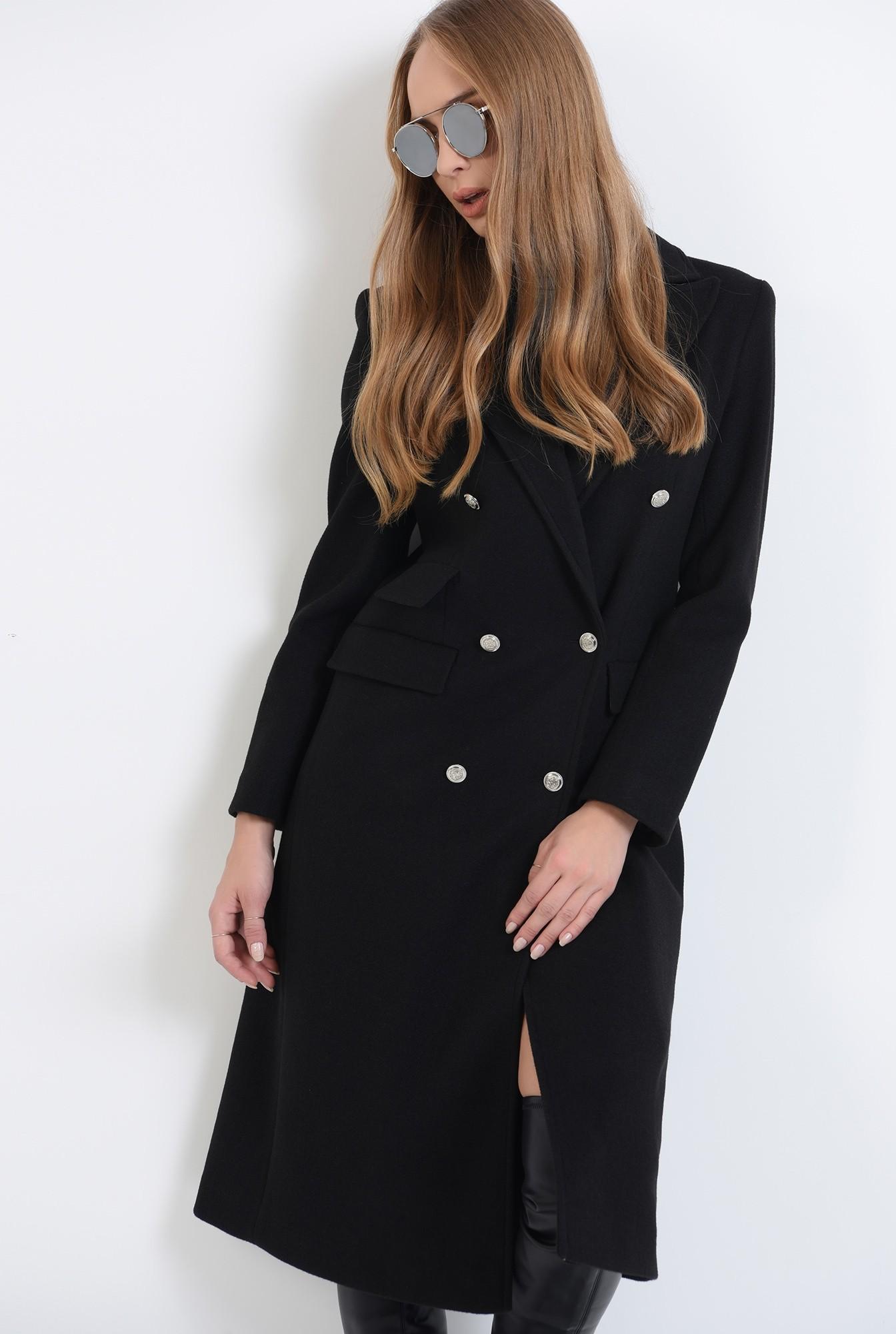0 - palton negru, midi, cu revere