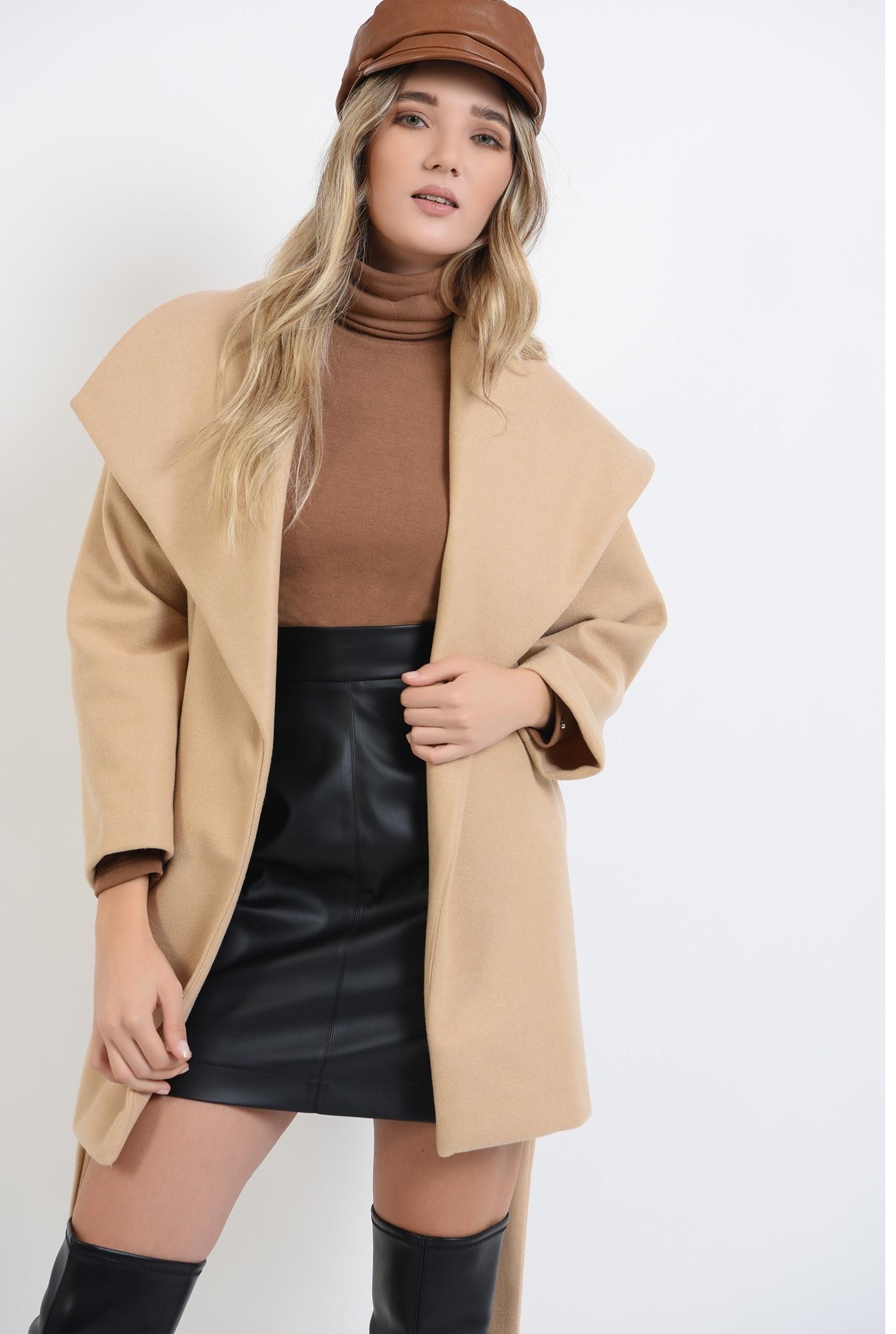 1 - palton cu cordon, cu revere, cu maneca trei sferturi,