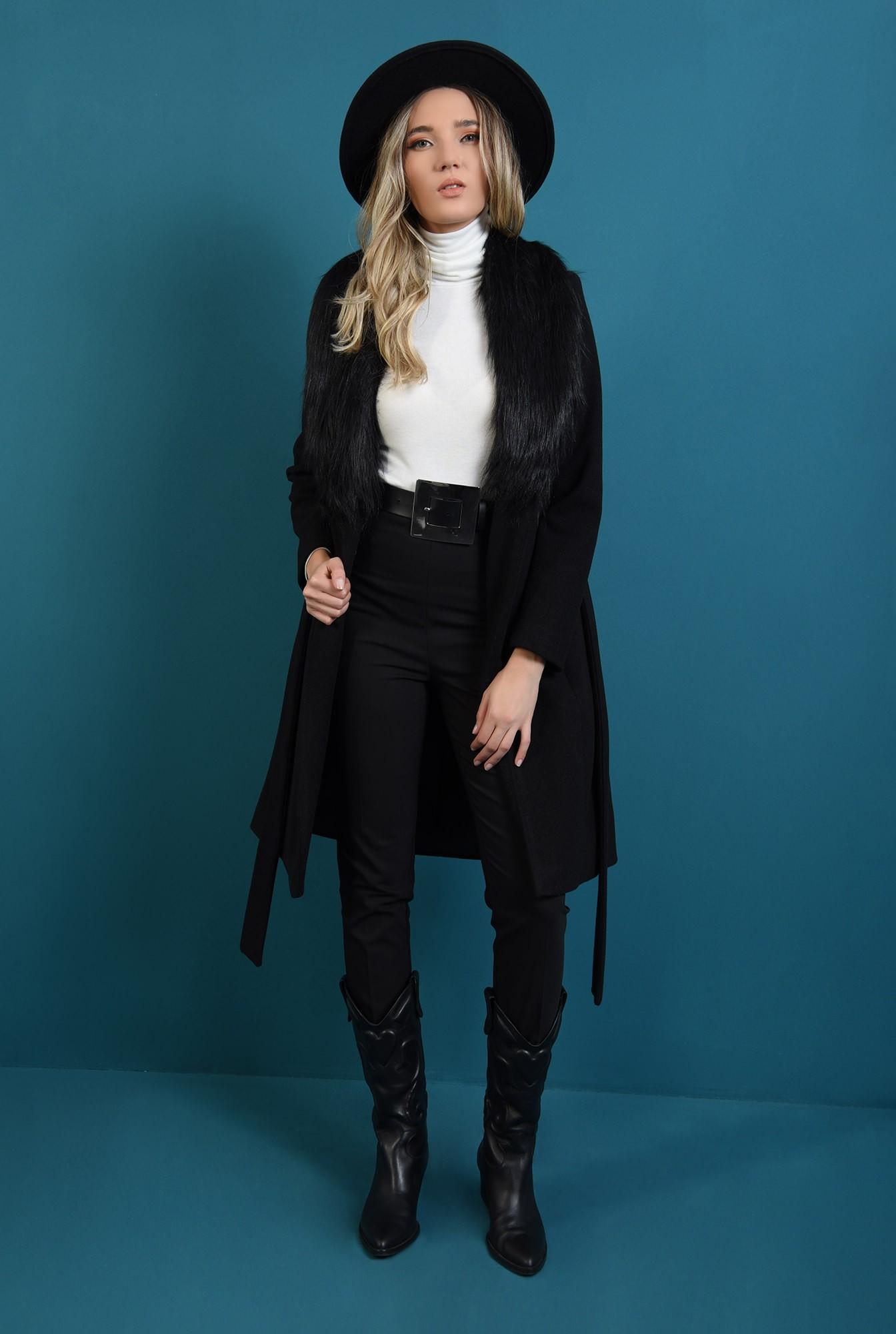 1 - palton cu cordon, midi, negru,Poema