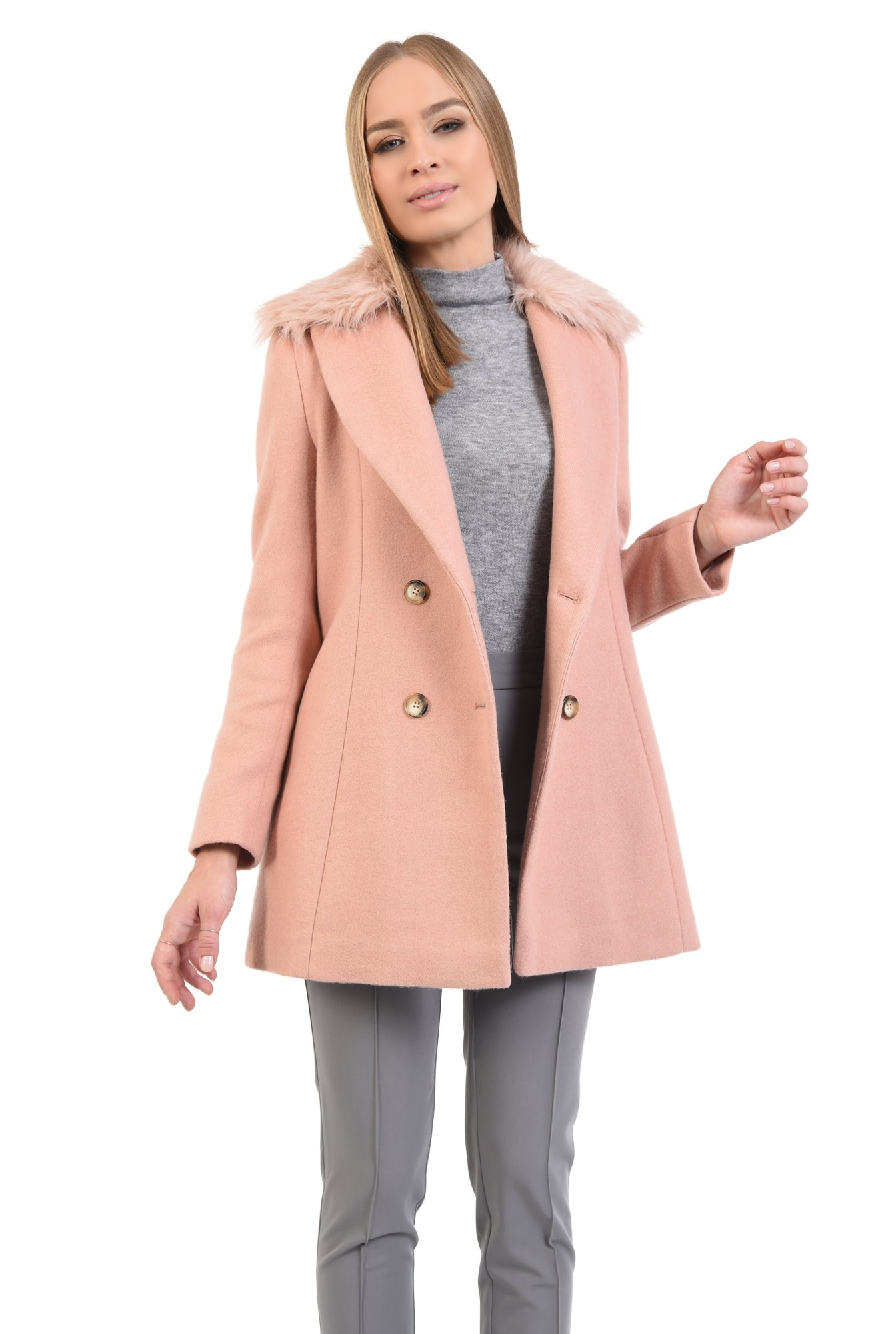 0 - palton din lana, roz, doua randuri de nasturi, guler asortat