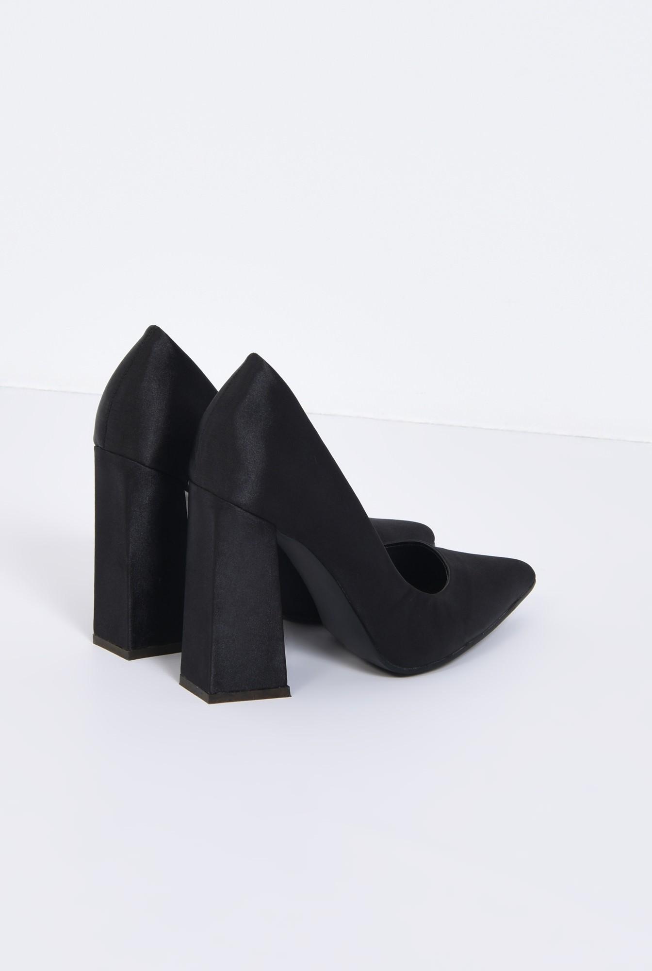 2 - pantofi eleganti, negri, satin, toc inalt