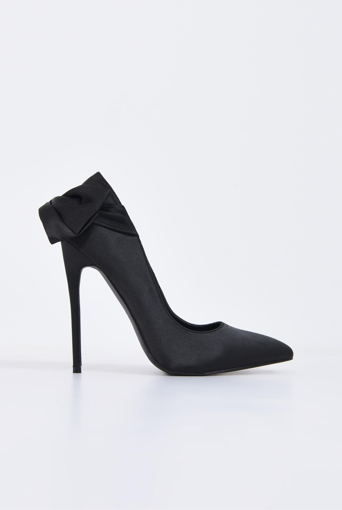 0 - pantofi eleganti, negru, satin, stiletto