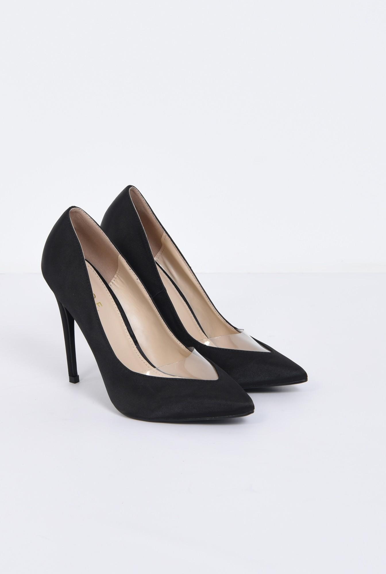 2 - pantofi eleganti, negru, satin, stiletto