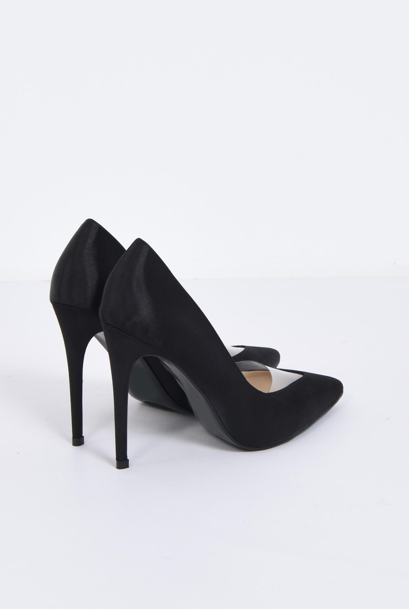 1 - pantofi eleganti, negru, satin, stiletto