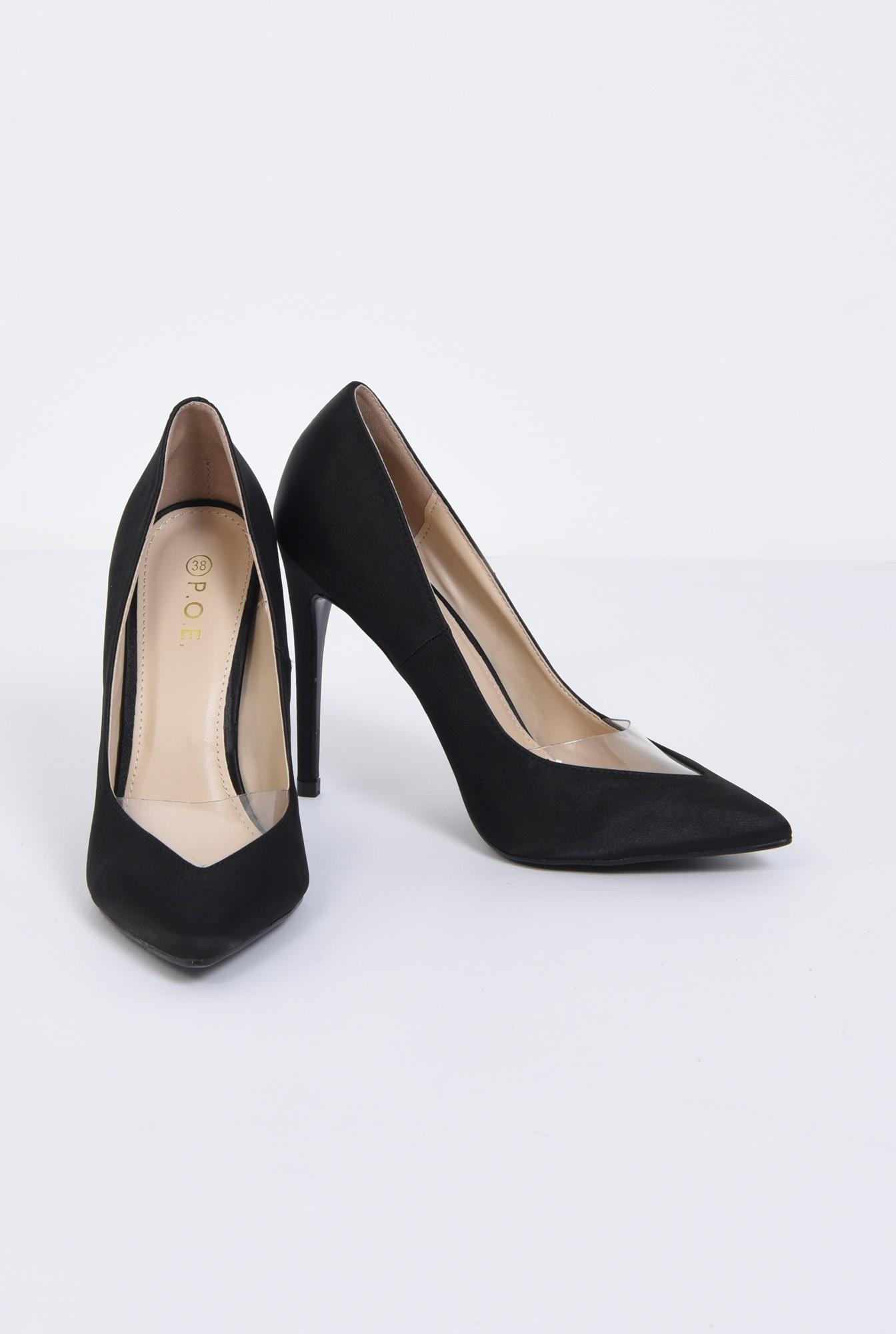 3 - pantofi eleganti, negru, satin, stiletto