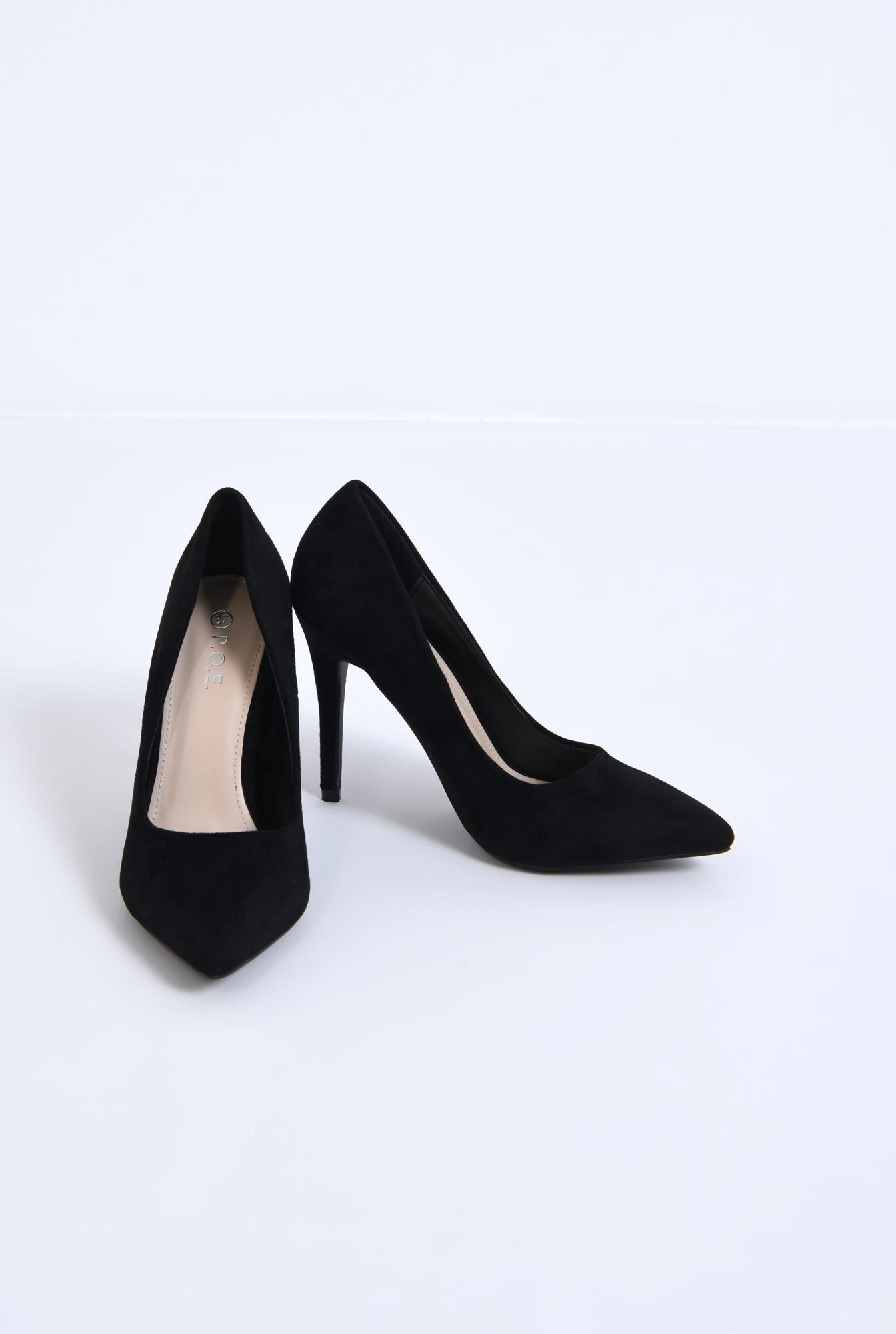 3 - pantofi casual, negru, stiletto