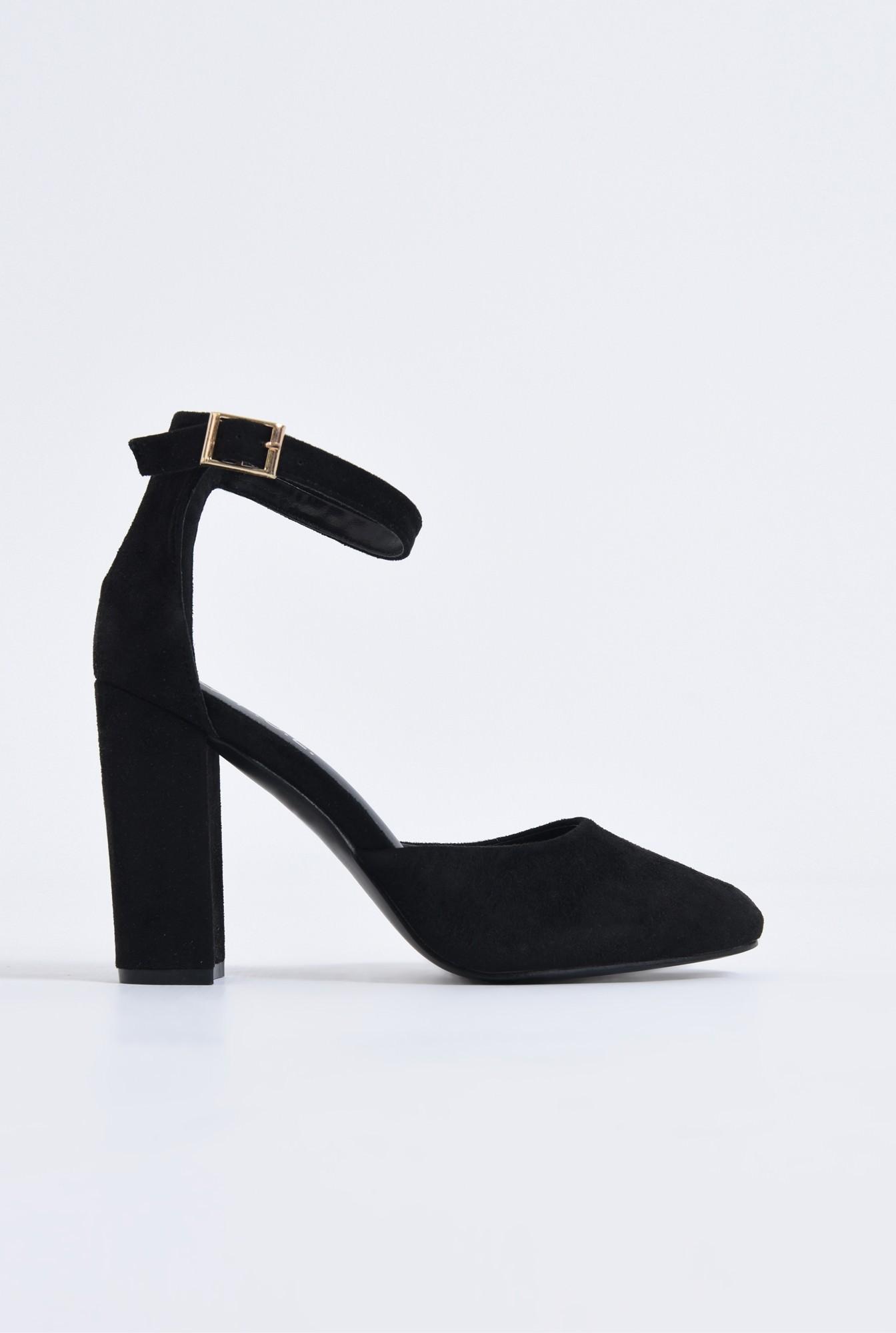 0 - pantofi casual, negri, toc gros
