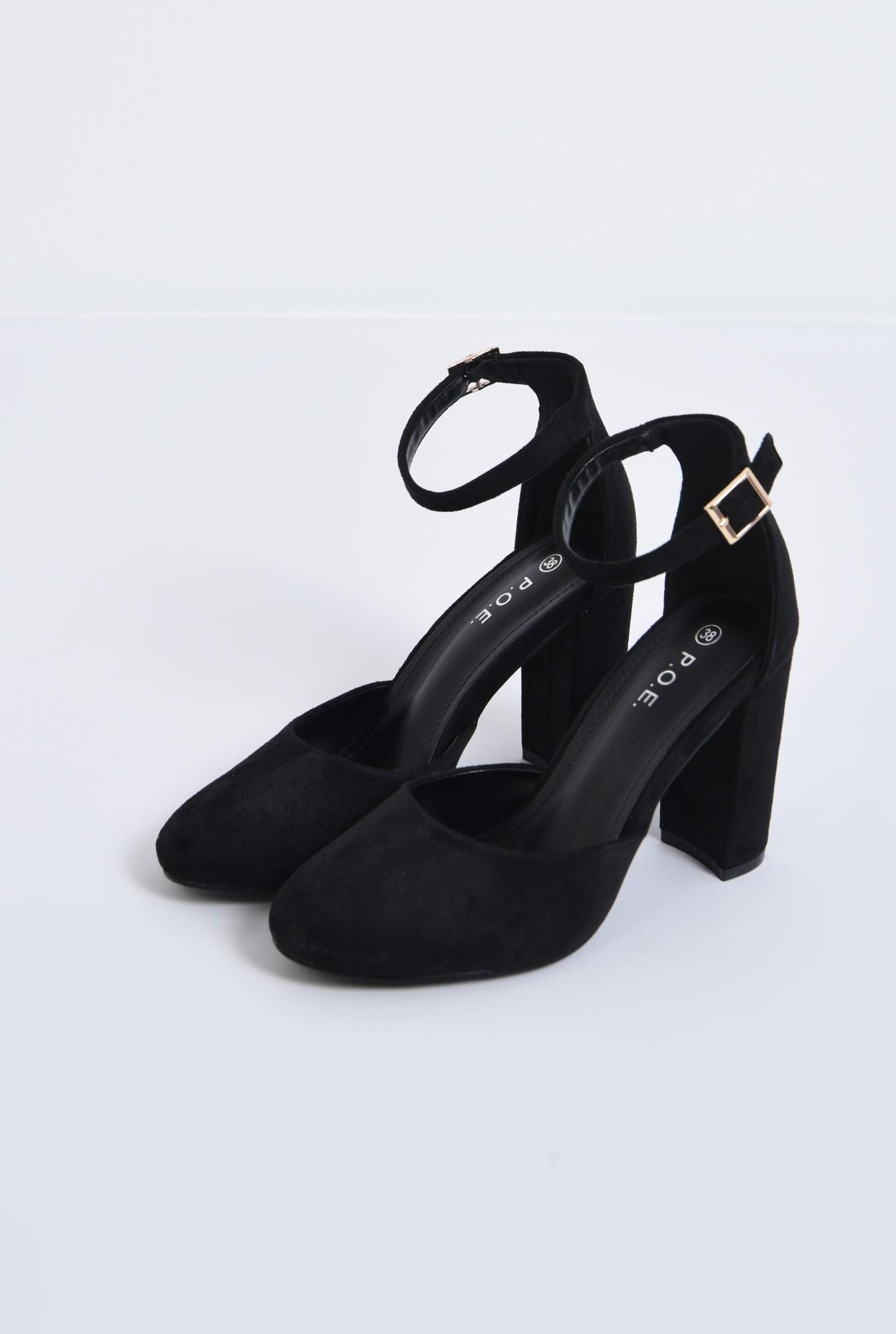 1 - pantofi casual, negri, toc gros