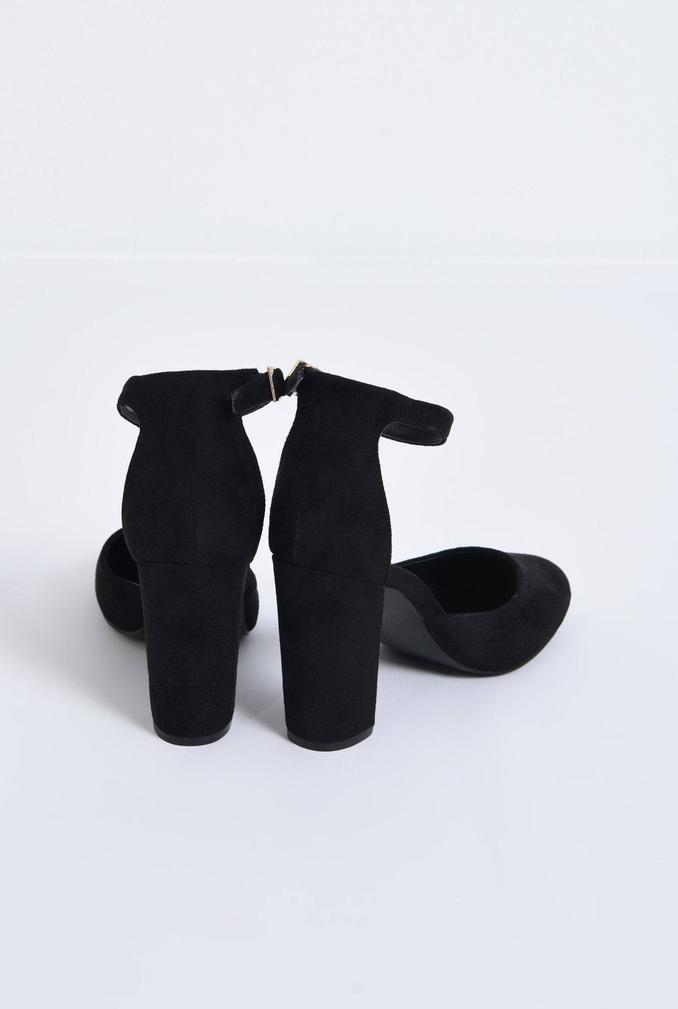 3 - pantofi casual, negri, toc gros