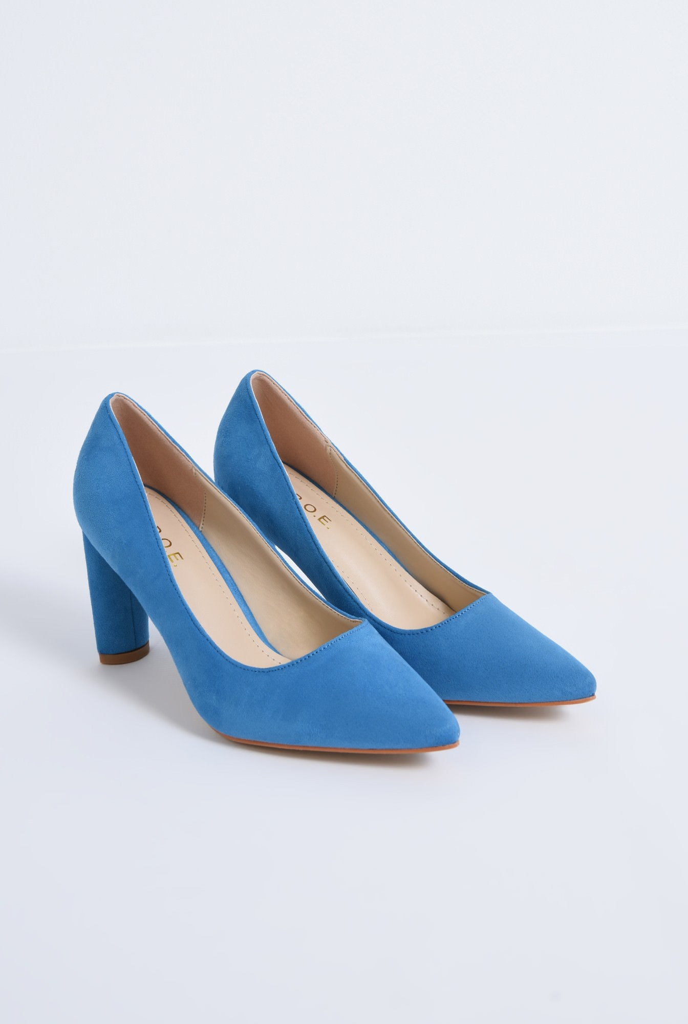 1 - pantofi casual, bleu, toc drept, piele intoarsa