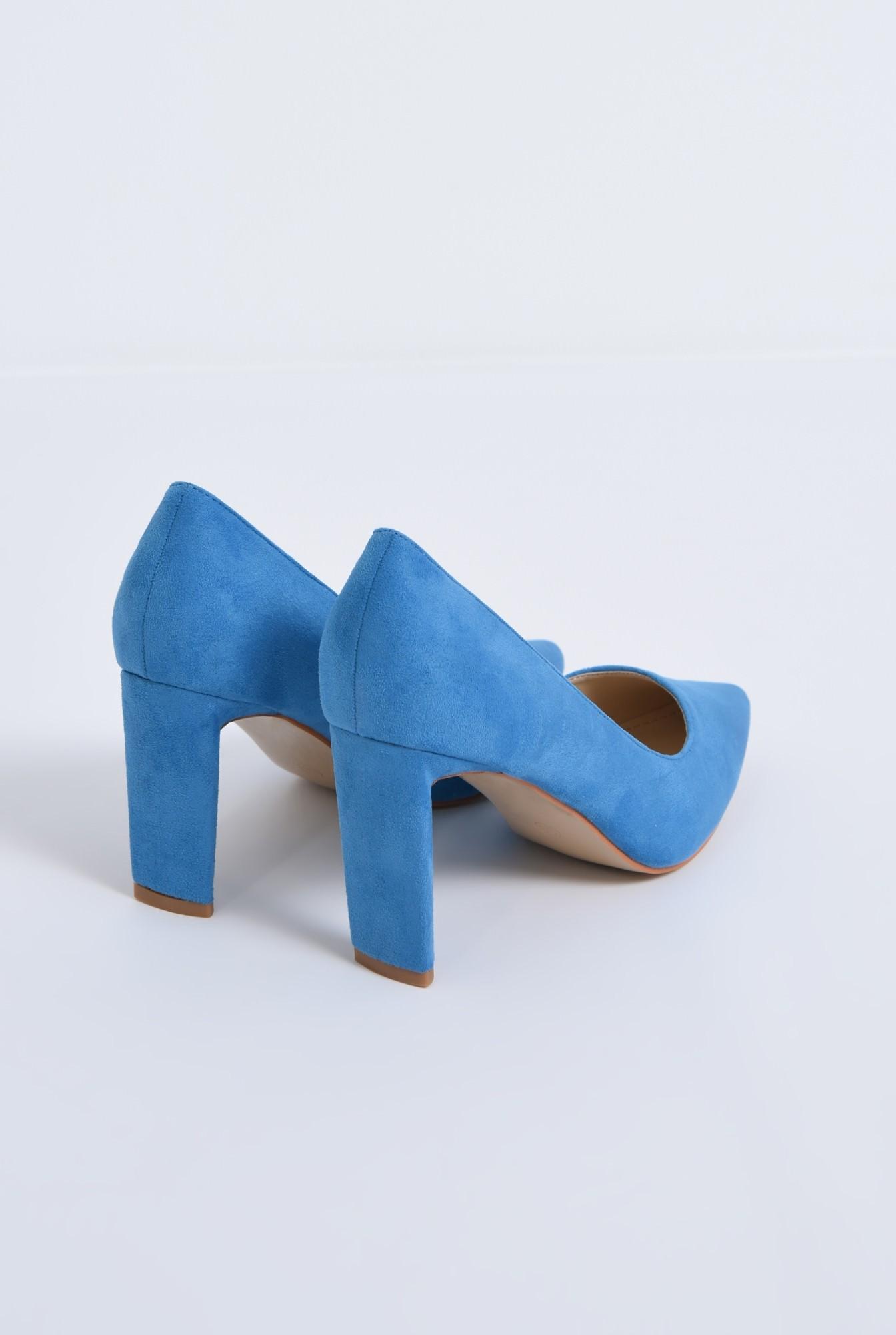 2 - pantofi casual, bleu, toc drept, piele intoarsa