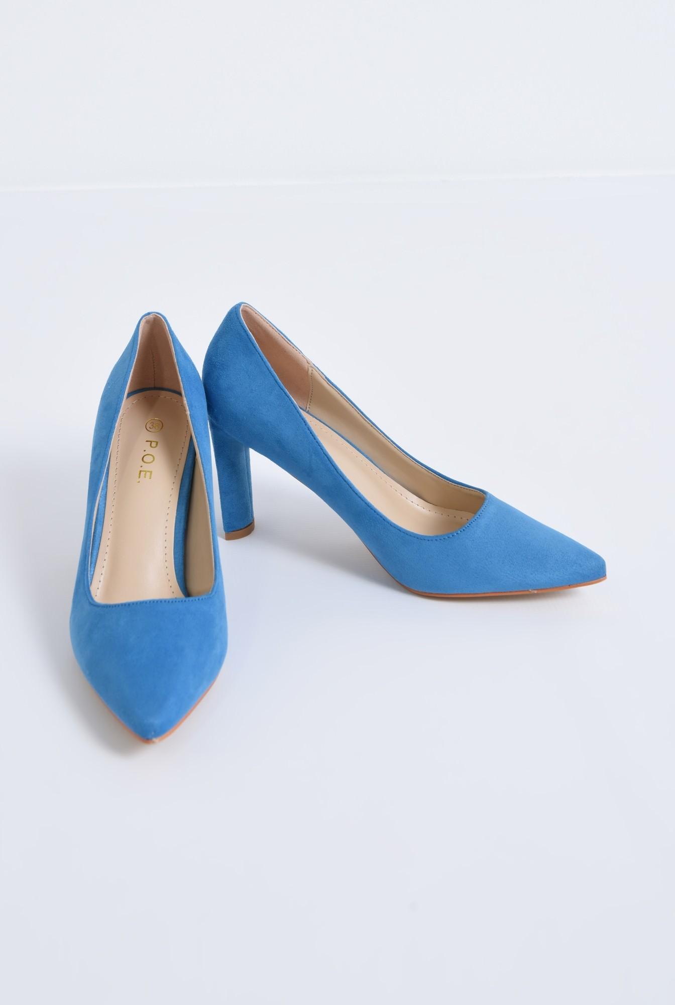 3 - pantofi casual, bleu, toc drept, piele intoarsa