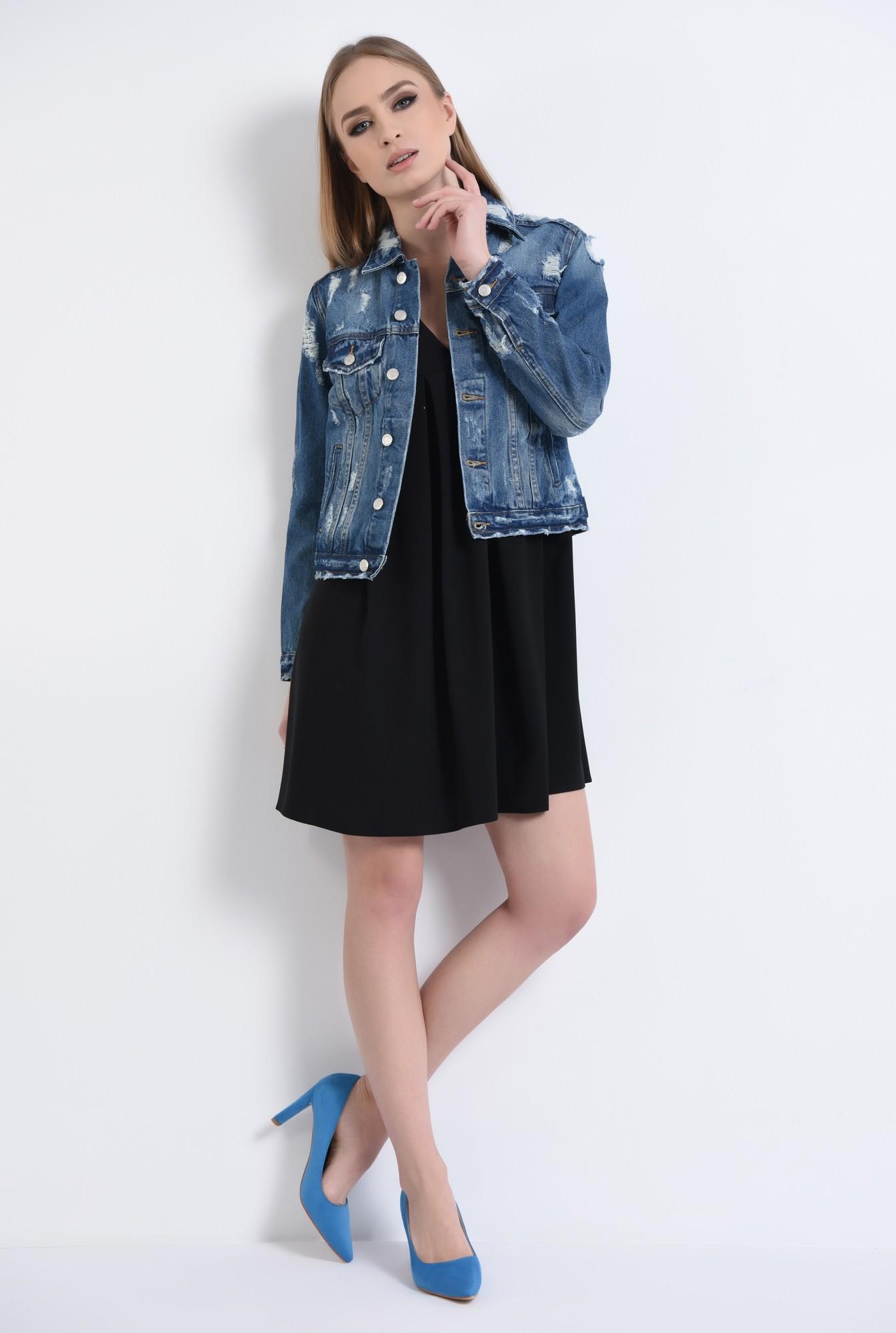 4 - pantofi casual, bleu, toc drept, piele intoarsa