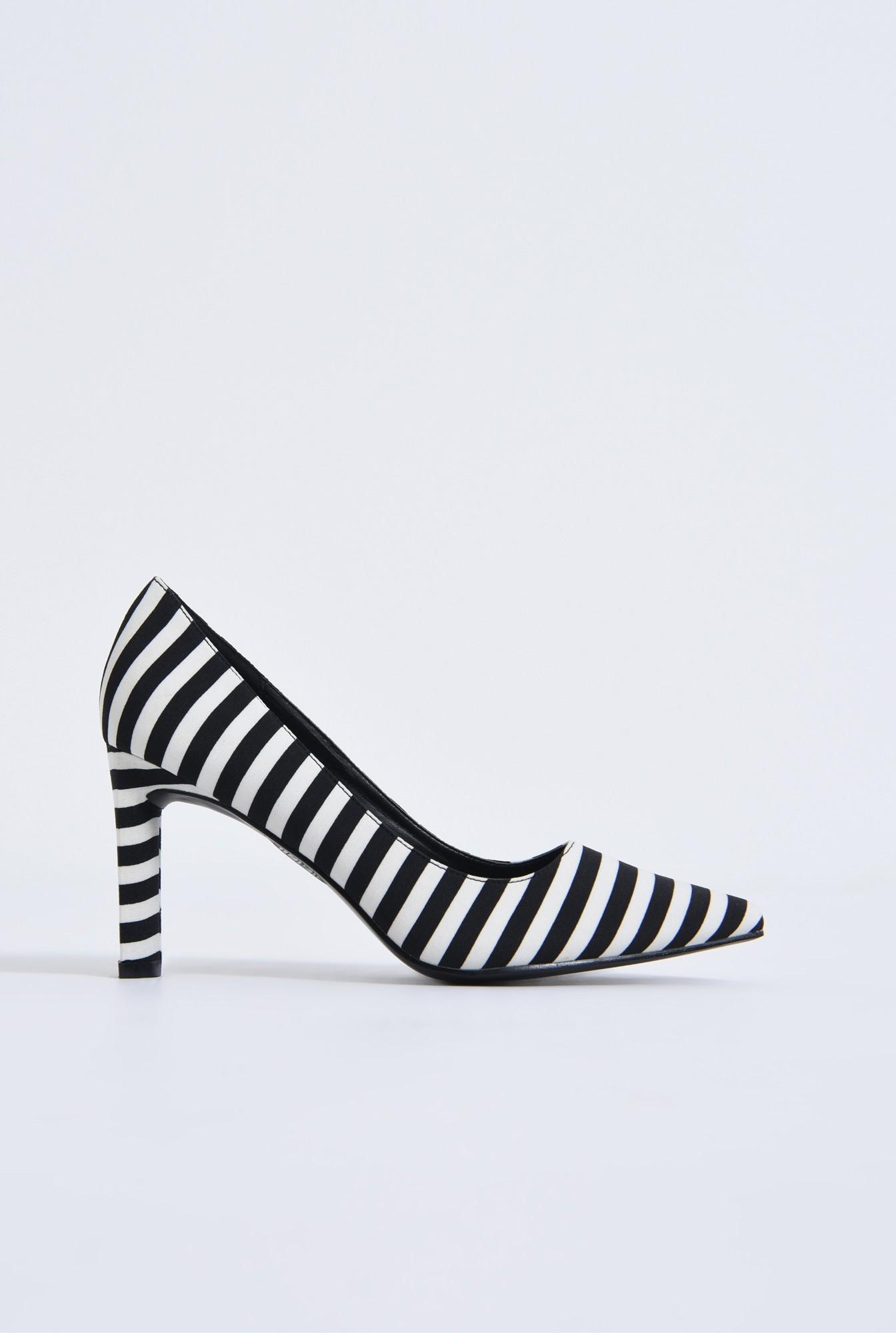 0 - pantofi casual, alb-negru, dungi, toc inalt
