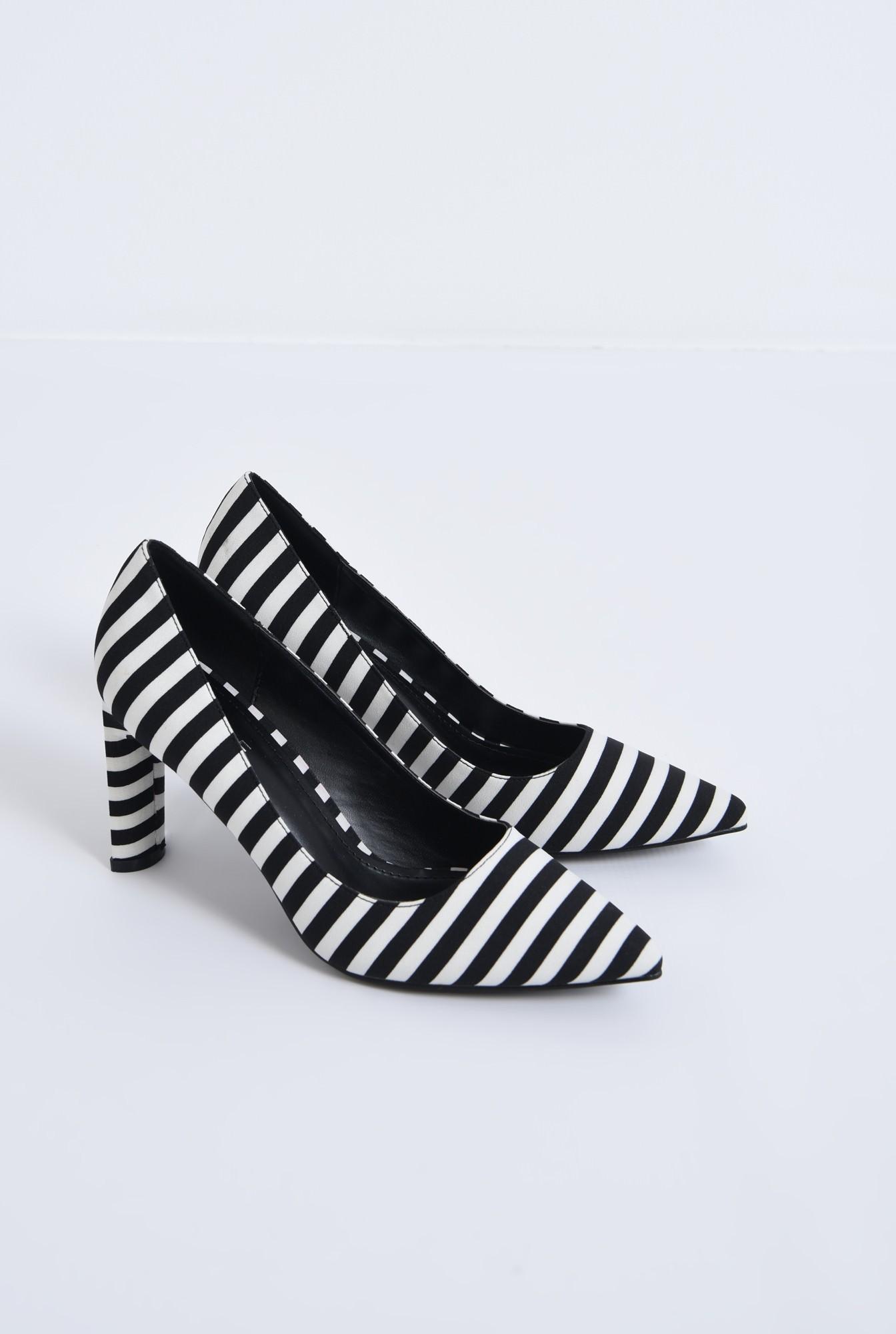 1 - pantofi casual, alb-negru, dungi, toc inalt