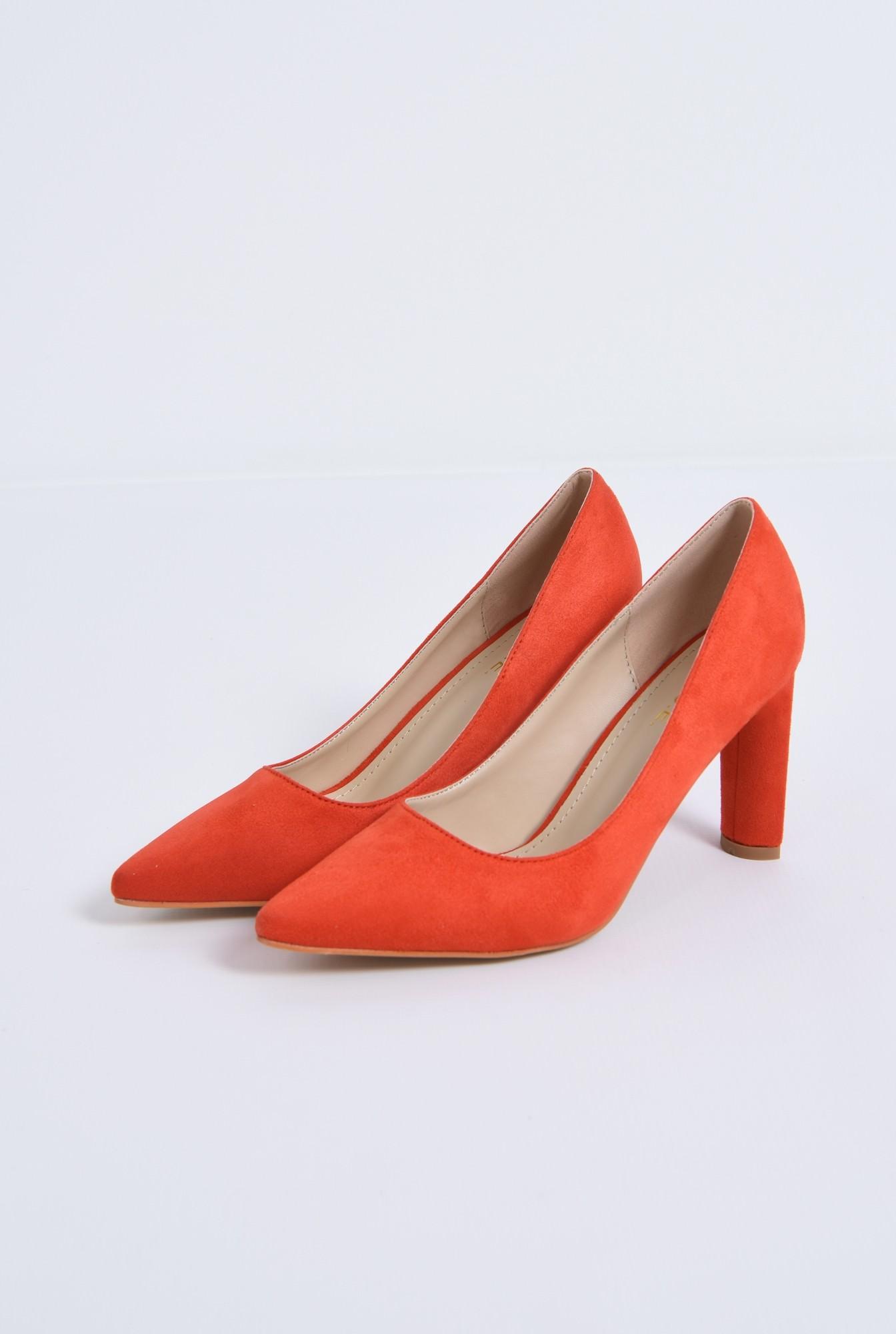 1 - pantofi casual, rosu, toc inalt