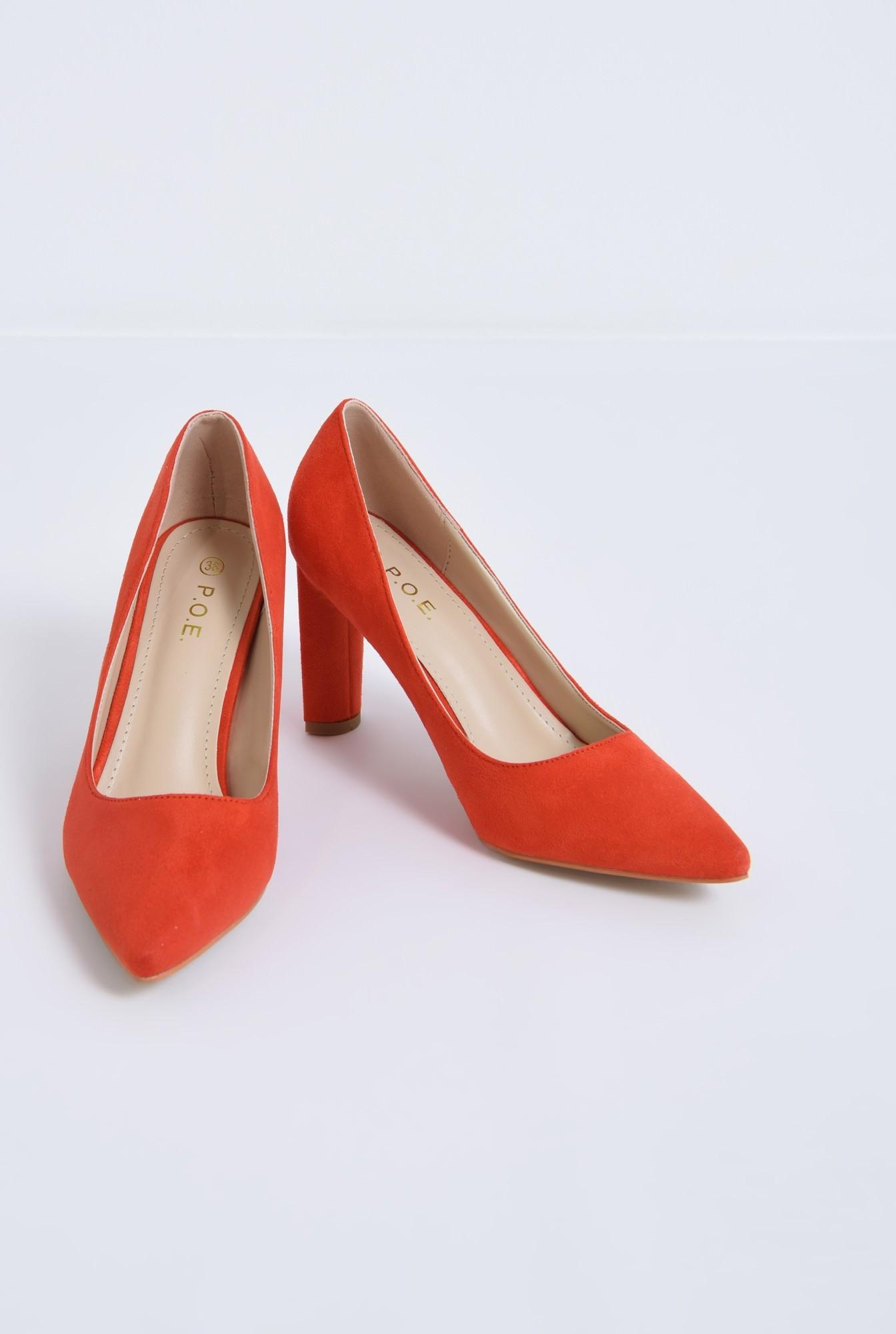 3 - pantofi casual, rosu, toc inalt