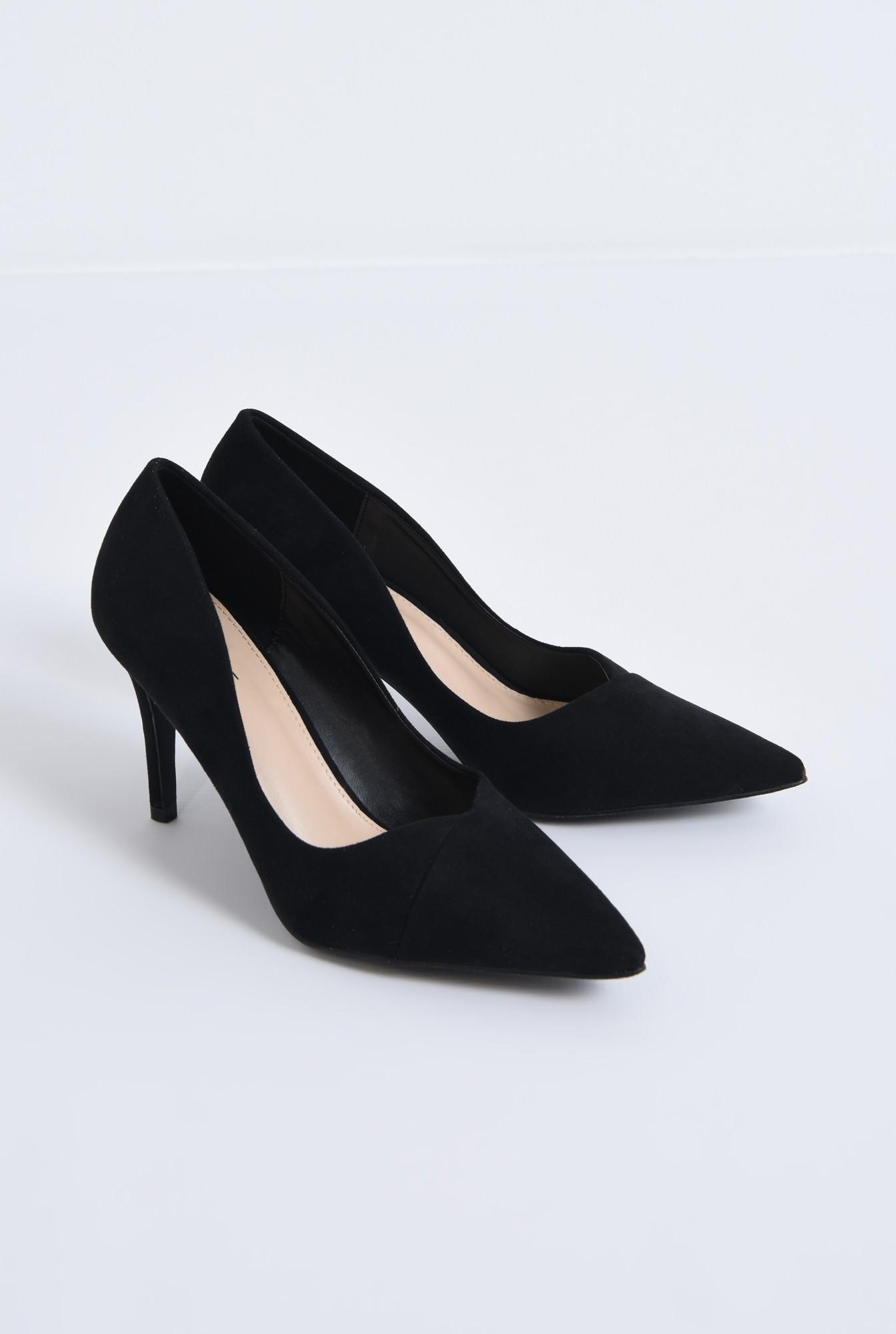 1 - pantofi casual, negru, toc subtire