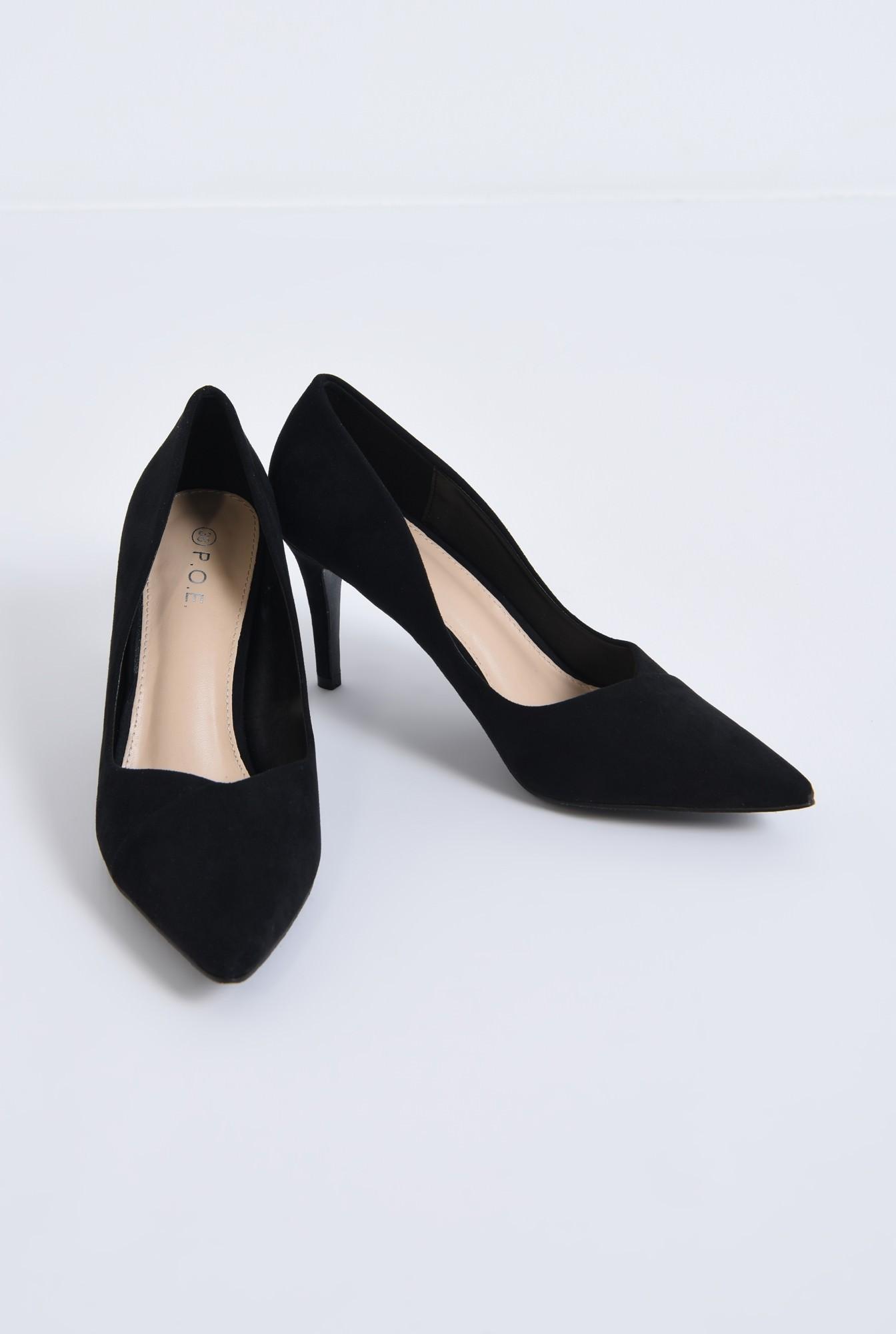 3 - pantofi casual, negru, toc subtire