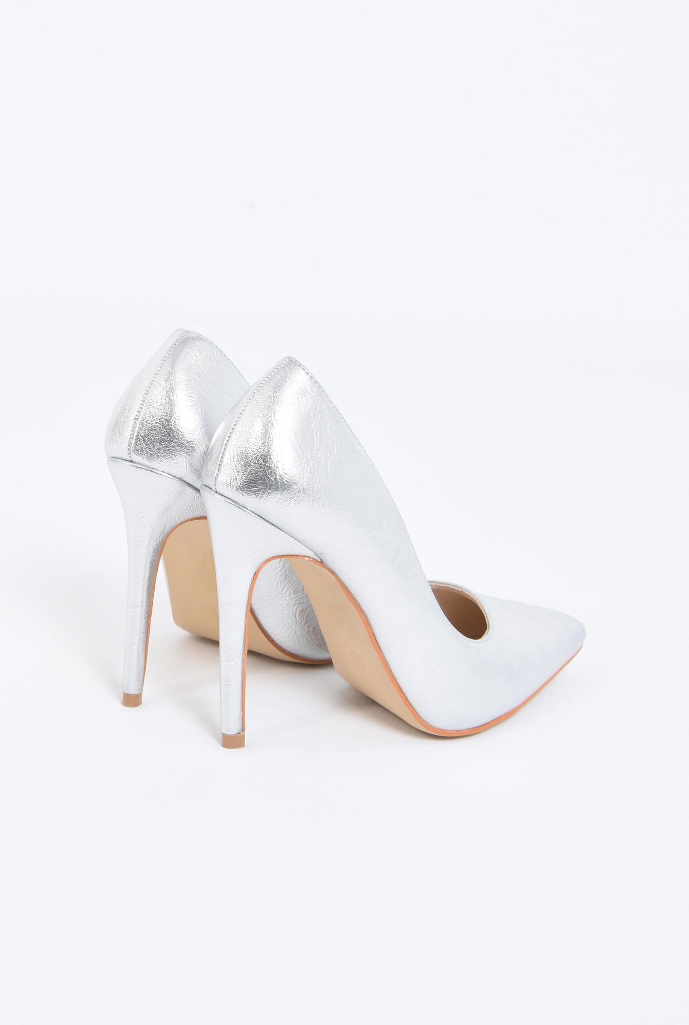 2 - pantofi dama, stiletto, argintiu, metalic