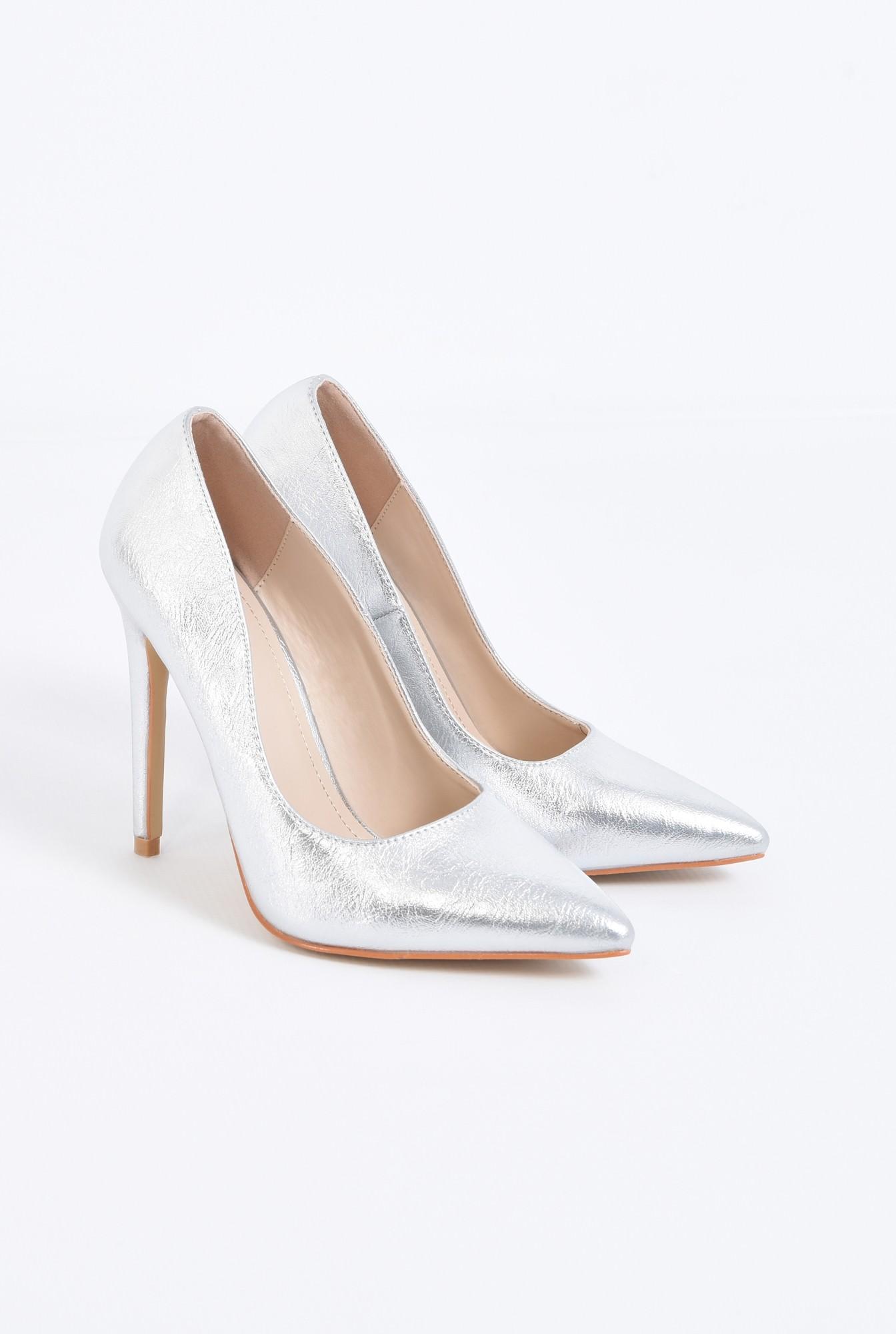1 - pantofi dama, stiletto, argintiu, metalic