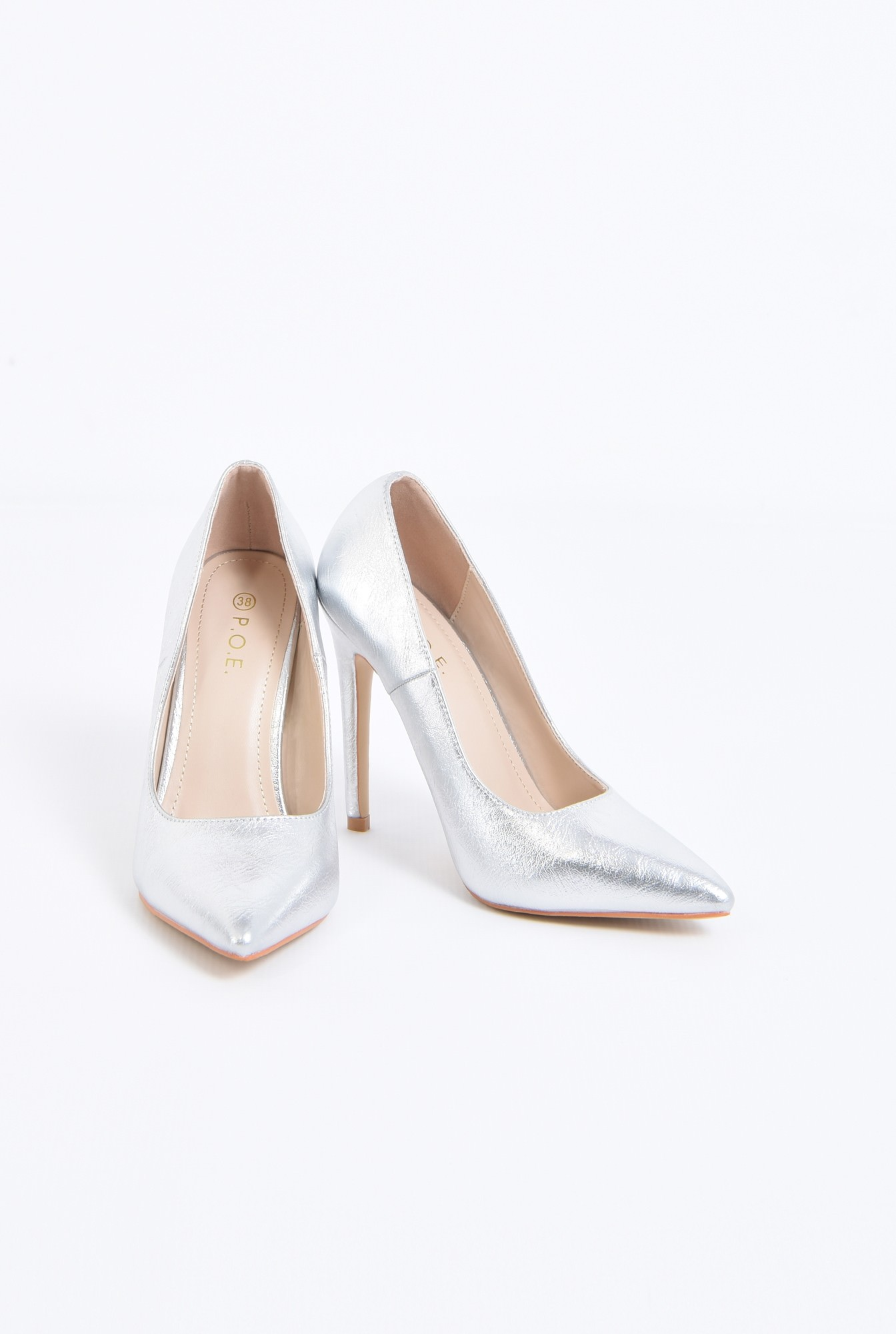 3 - pantofi dama, stiletto, argintiu, metalic
