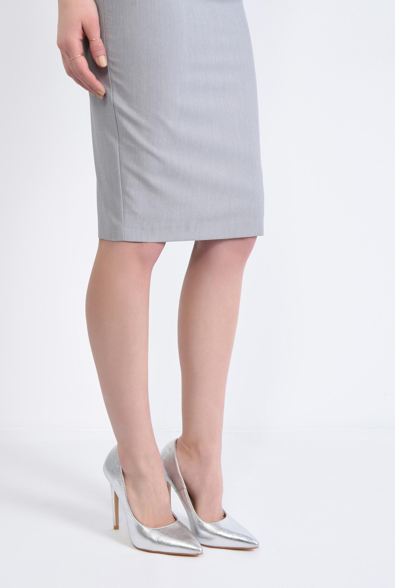 4 - pantofi dama, stiletto, argintiu, metalic