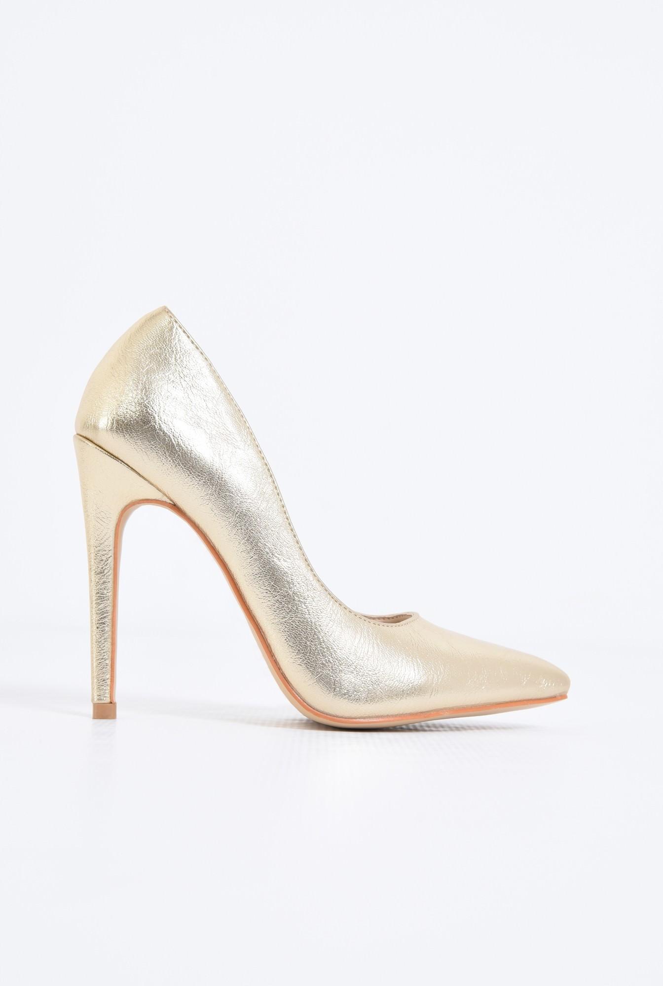 0 - pantofi eleganti, aurii, toc inalt