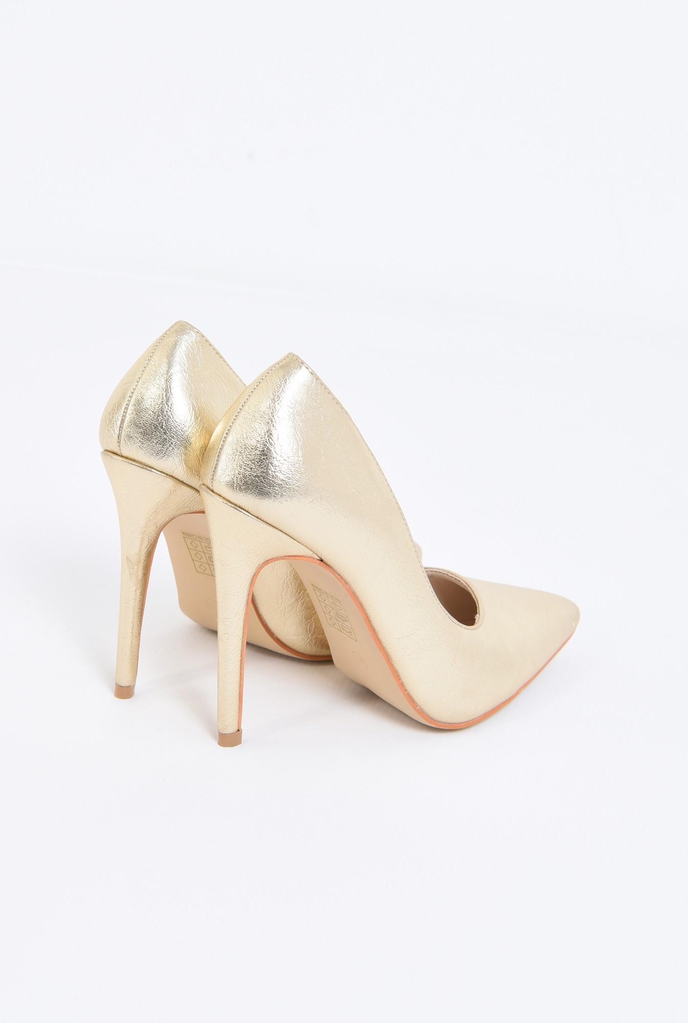 2 - pantofi eleganti, aurii, toc inalt