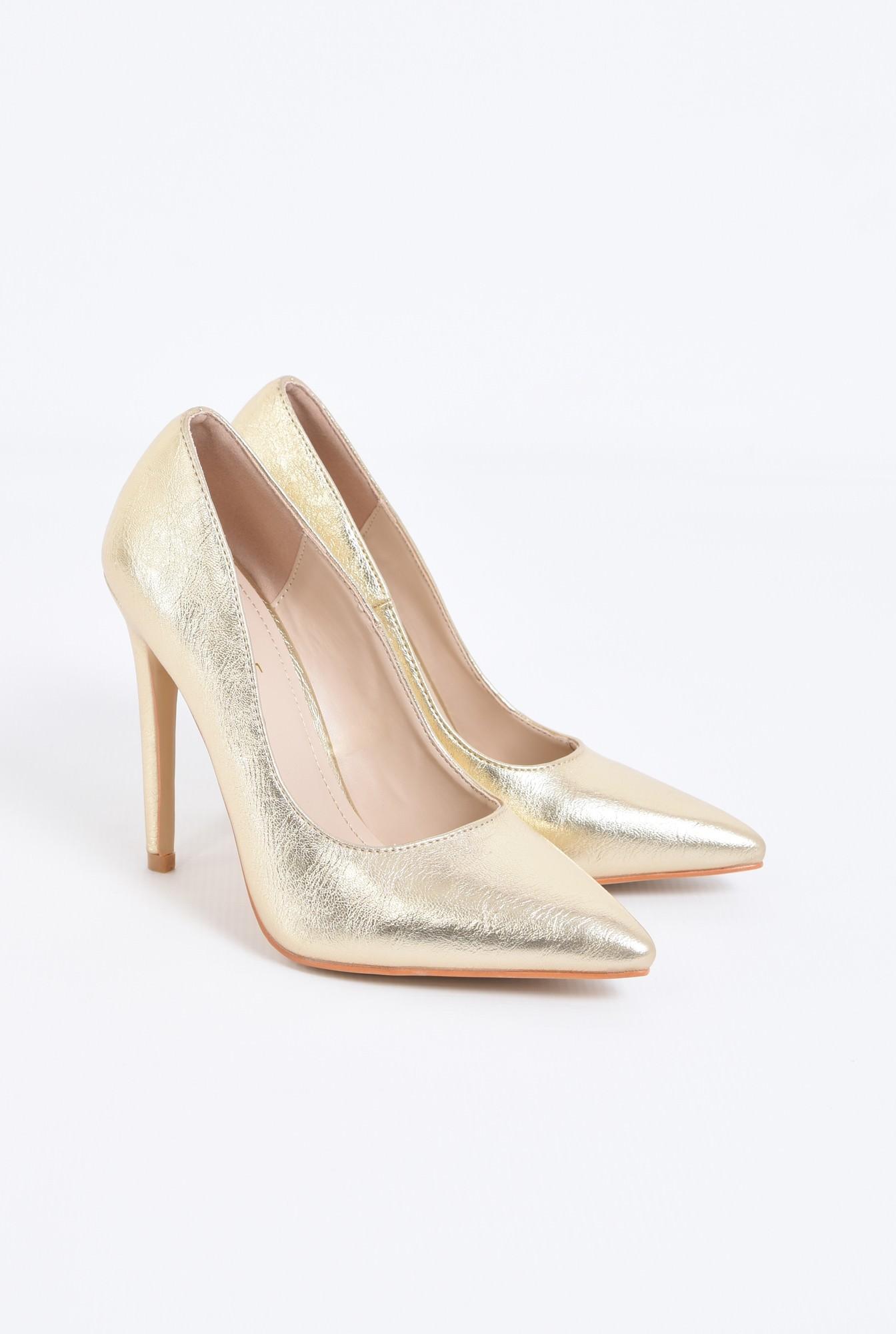 1 - pantofi eleganti, aurii, toc inalt