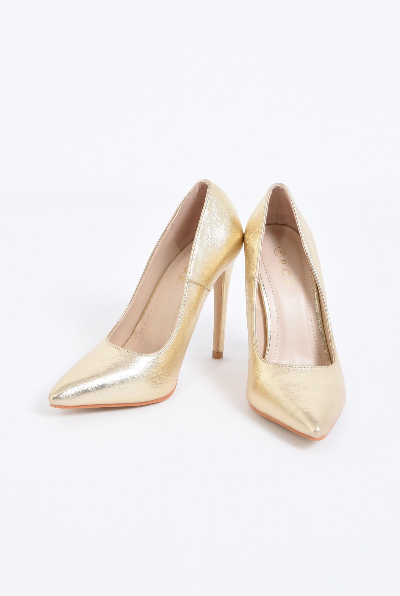 3 - pantofi eleganti, aurii, toc inalt