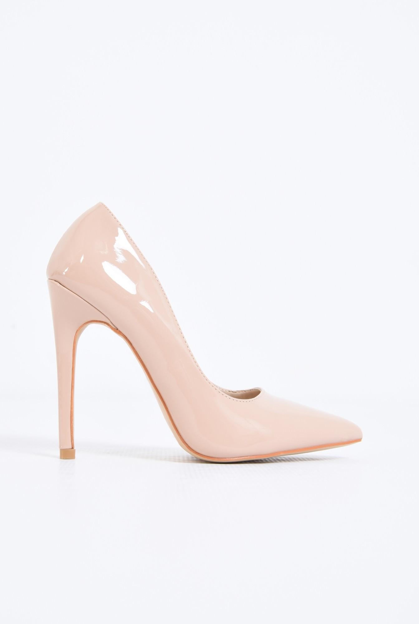 0 - pantofi eleganti, crem, toc inalt, varf ascutit