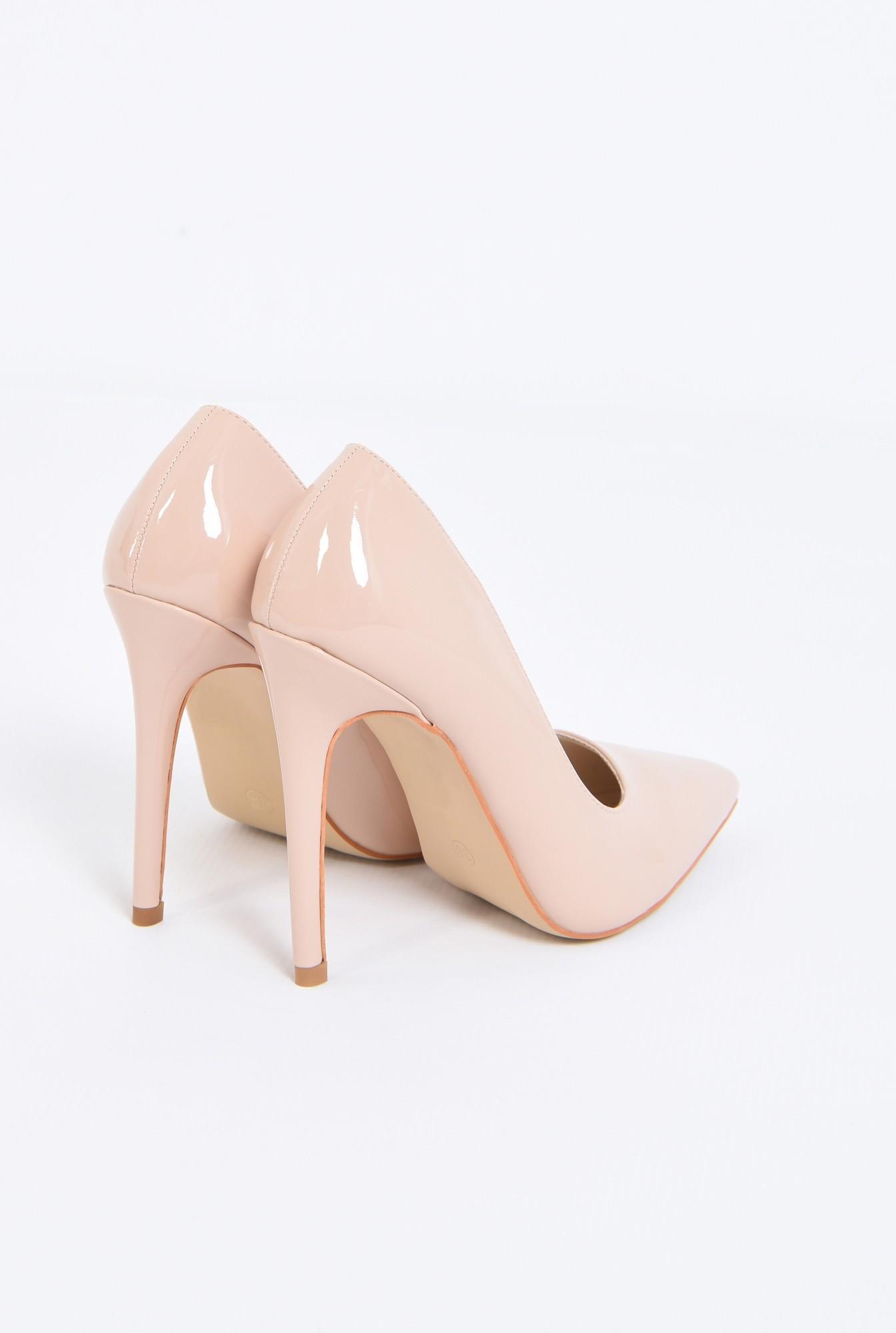 2 - pantofi eleganti, crem, toc inalt, varf ascutit