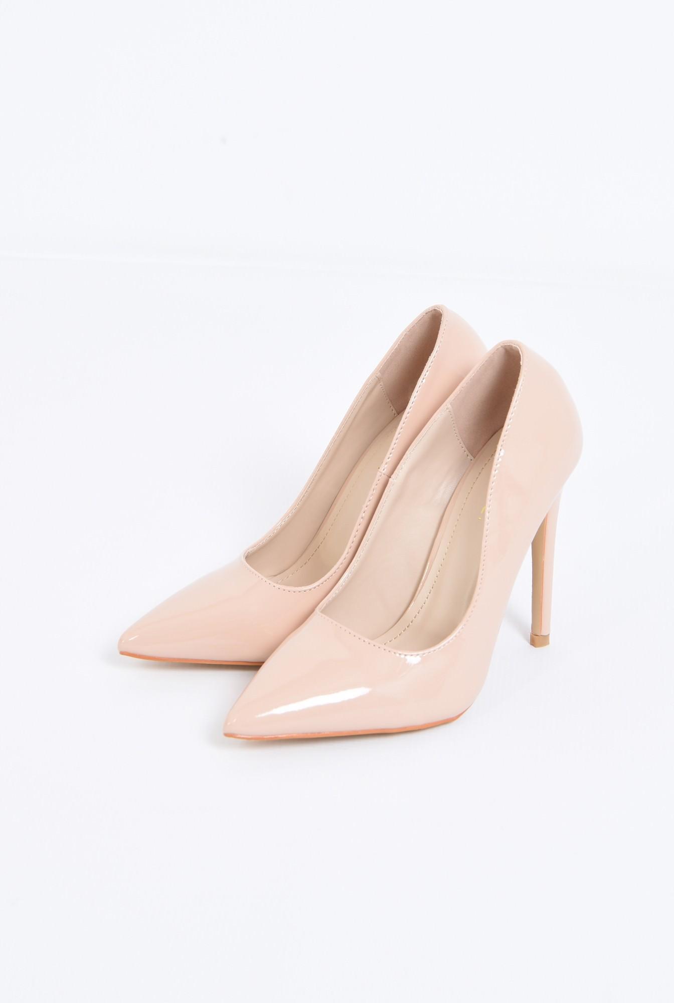 1 - pantofi eleganti, crem, toc inalt, varf ascutit