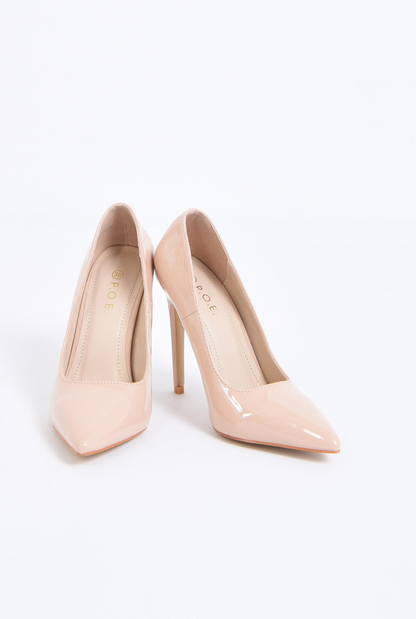 3 - pantofi eleganti, crem, toc inalt, varf ascutit