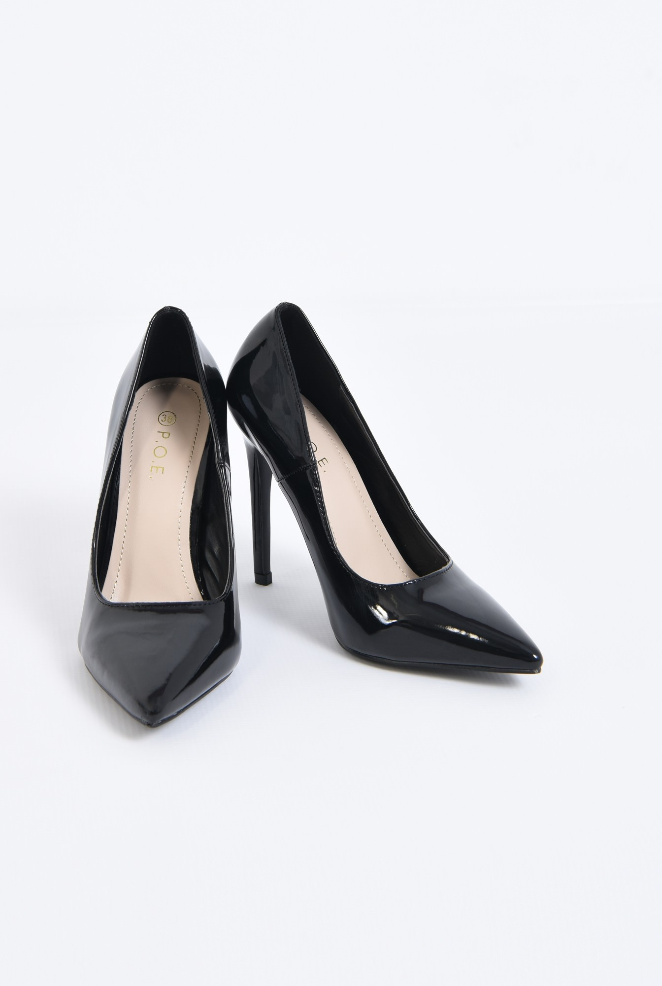 3 - pantofi eleganti, negri, lac, varf ascutit