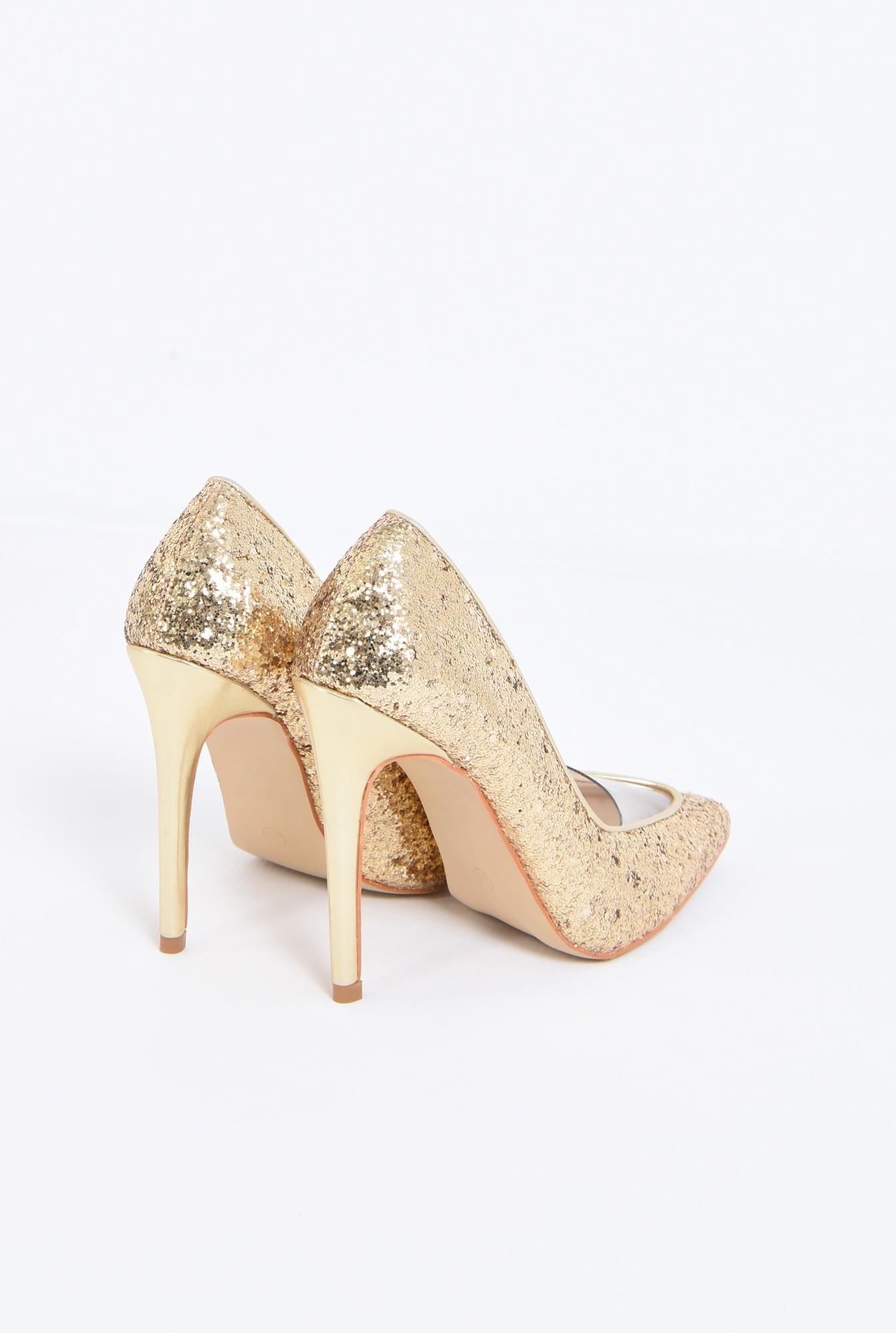 2 - pantofi eleganti, auriu, stiletto, glitter