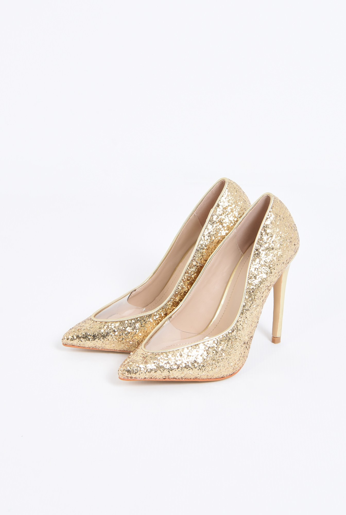 1 - pantofi eleganti, auriu, stiletto, glitter