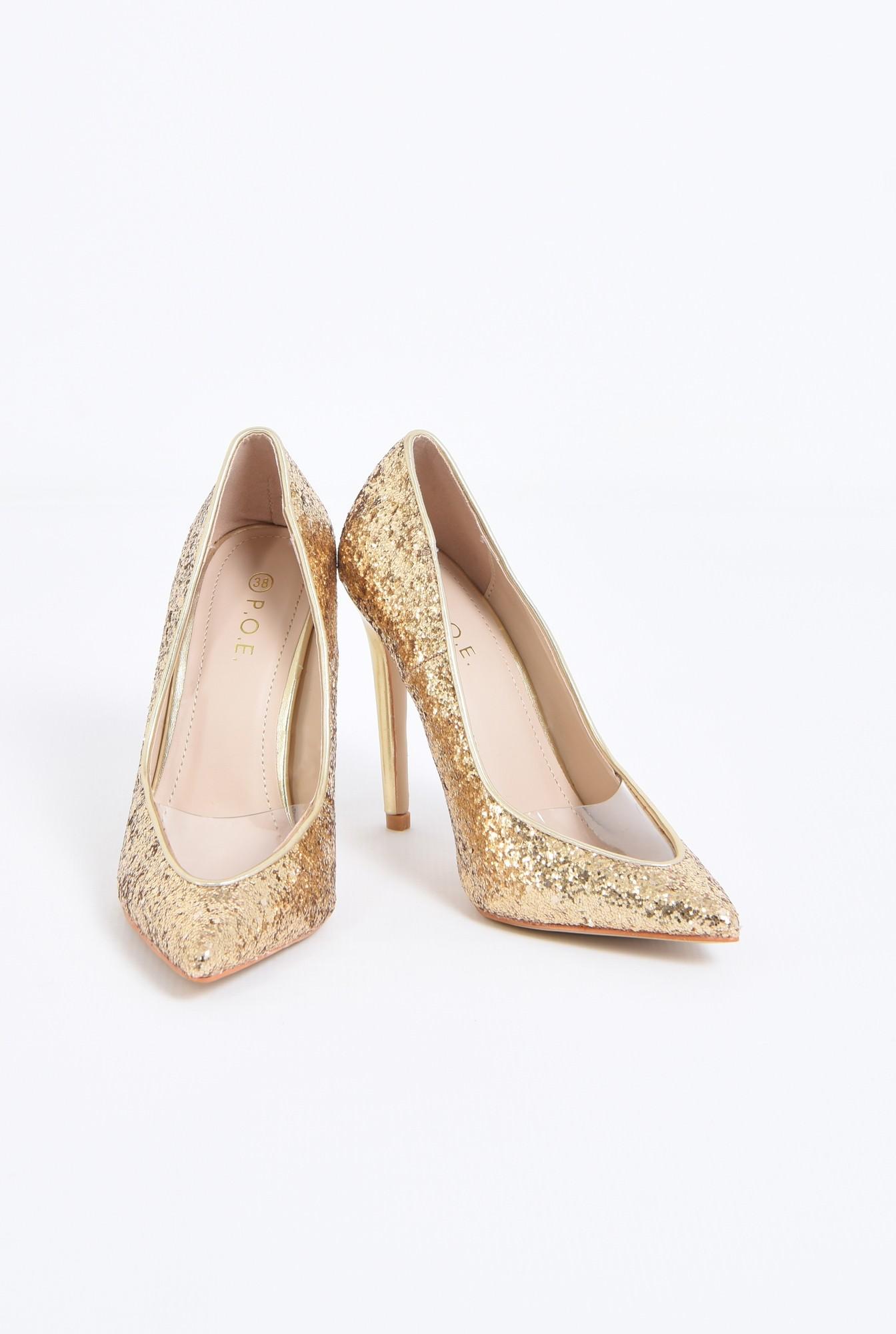 3 - pantofi eleganti, auriu, stiletto, glitter