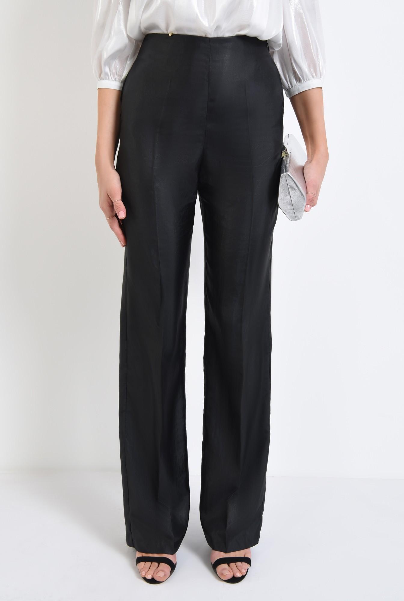 2 - pantaloni eleganti, negri, cu aspect metalic
