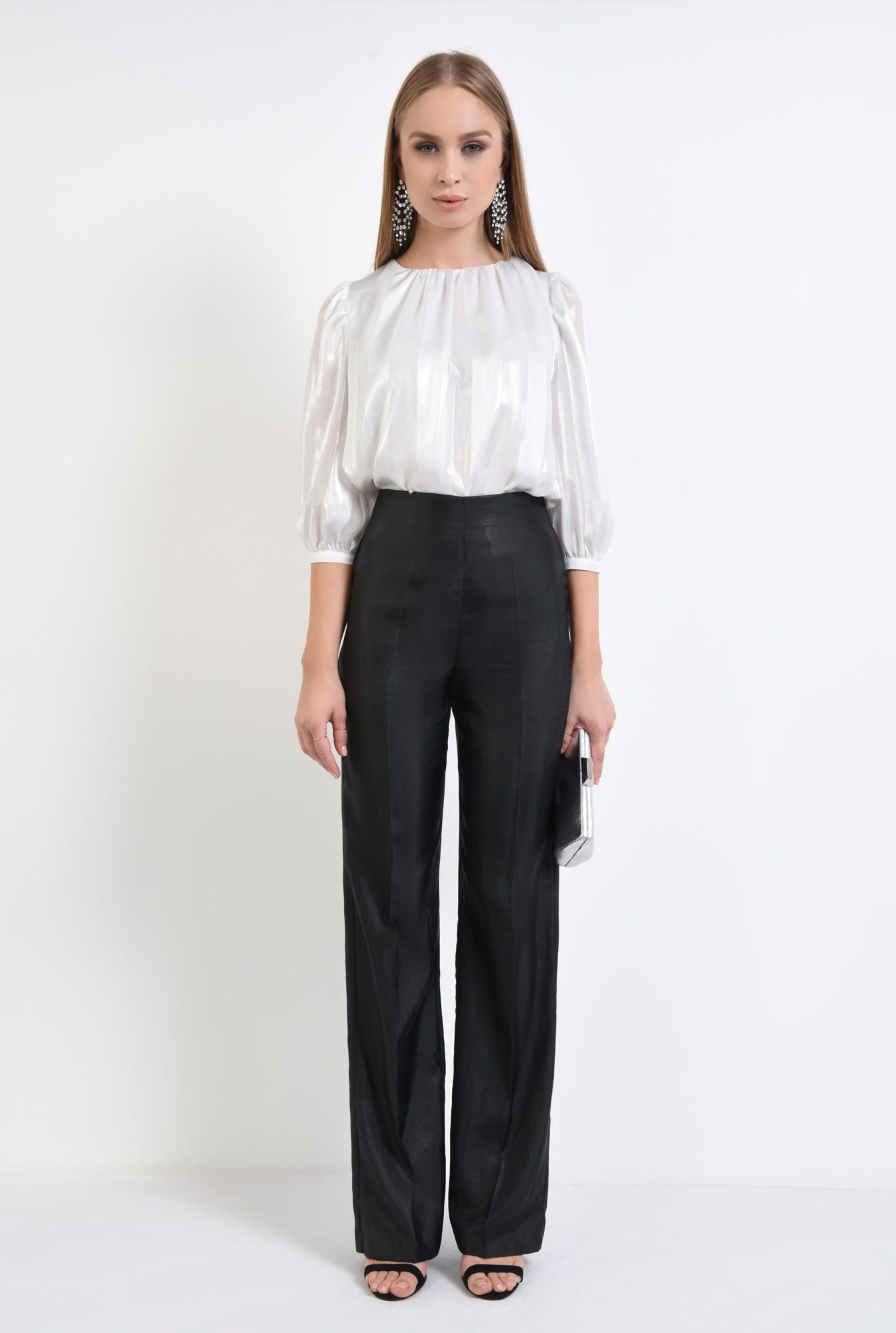 3 - pantaloni eleganti, negri, cu aspect metalic