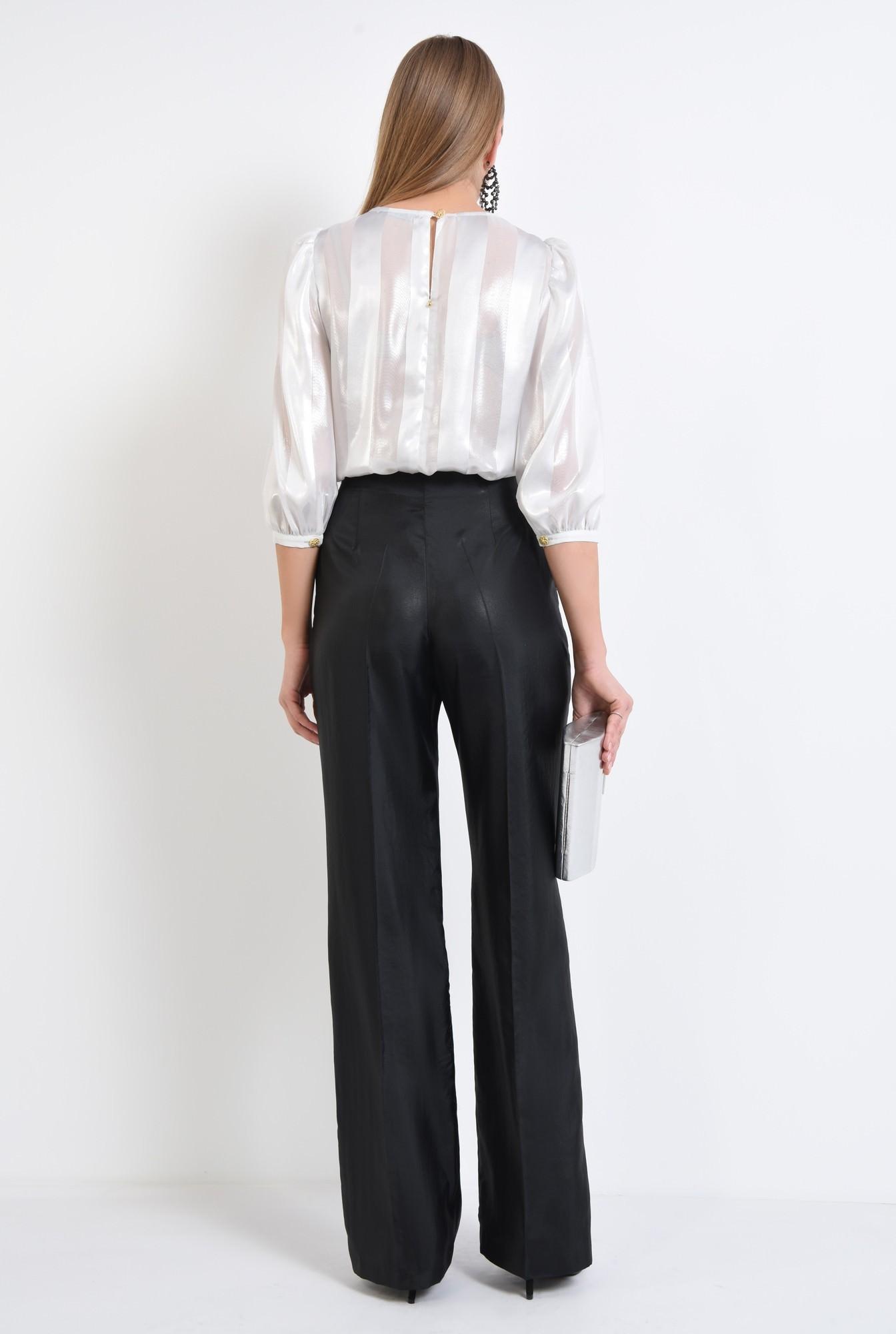 1 - pantaloni eleganti, negri, cu aspect metalic
