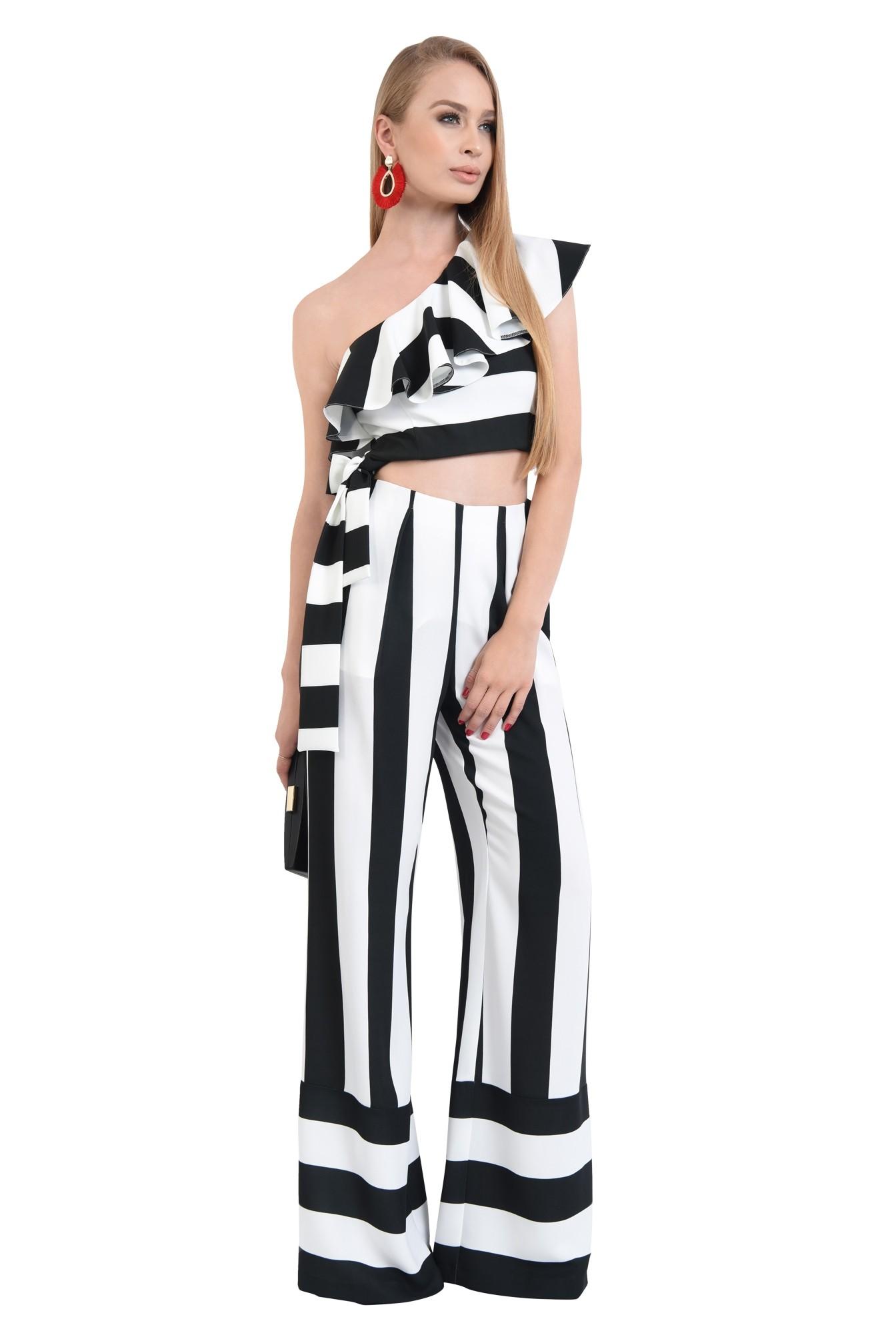 0 - pantaloni eleganti, croi larg, imprimeu, dungi, alb-negru