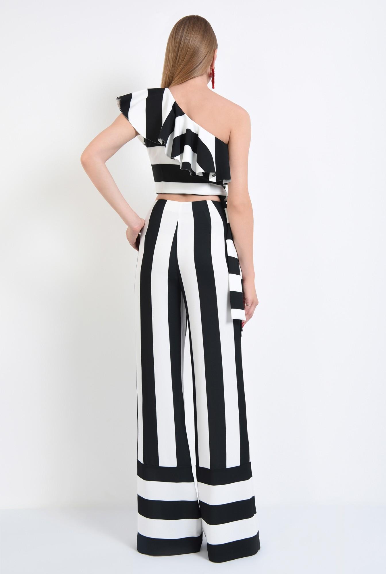 1 - pantaloni eleganti, croi larg, imprimeu, dungi, alb-negru