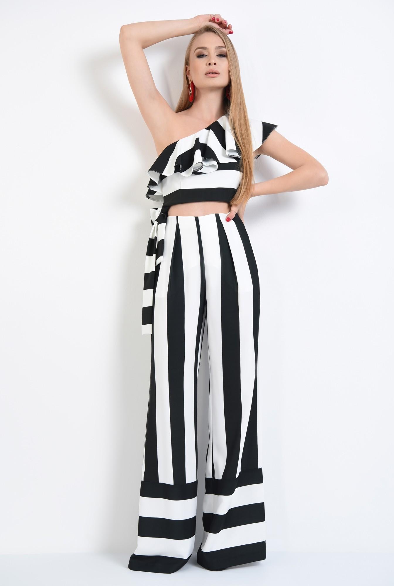 3 - pantaloni eleganti, croi larg, imprimeu, dungi, alb-negru