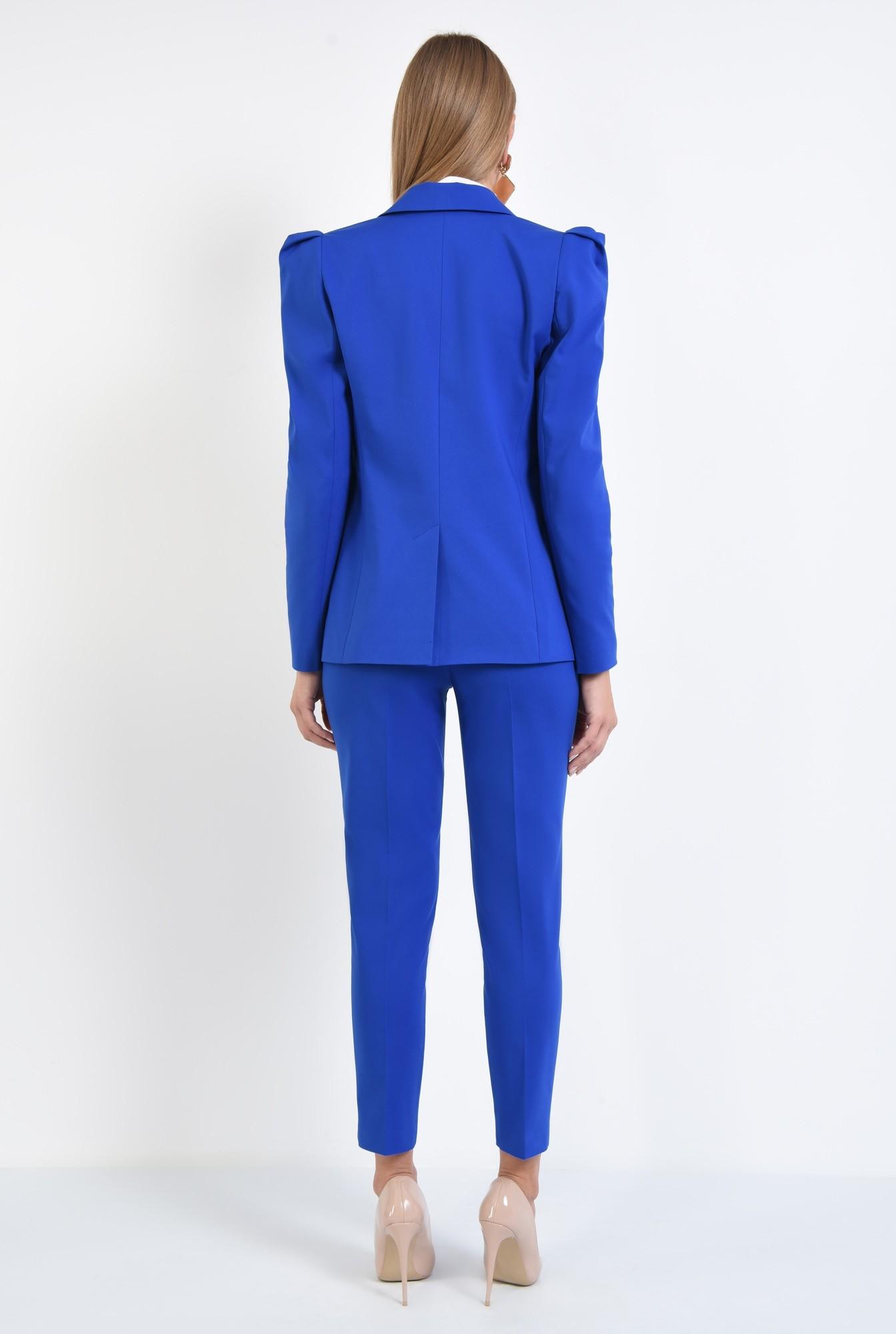 1 - pantaloni dama, online, costum, albastru, croi conic