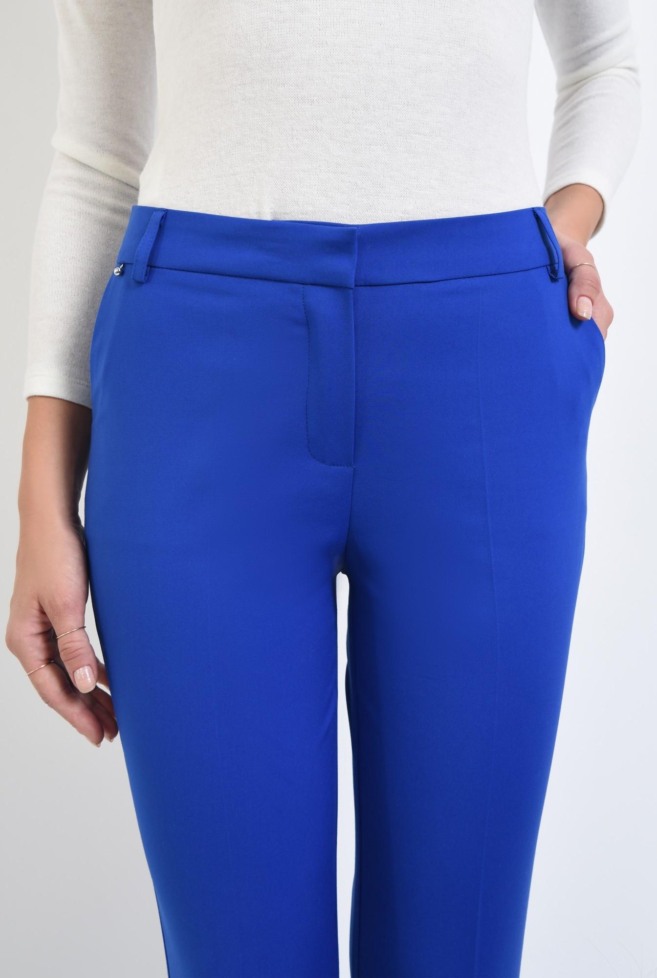 2 - pantaloni dama, online, costum, albastru, croi conic