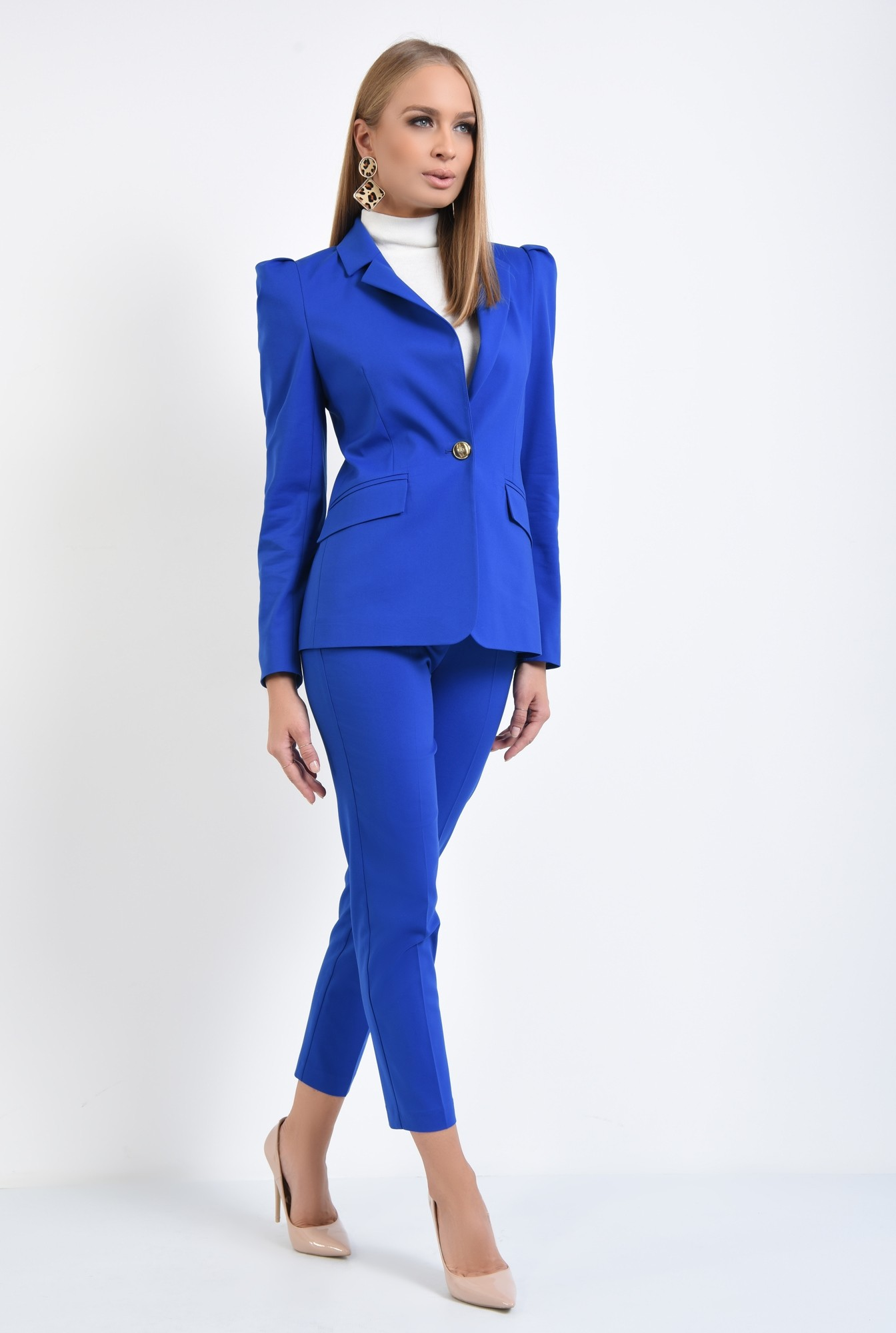 3 - pantaloni dama, online, costum, albastru, croi conic