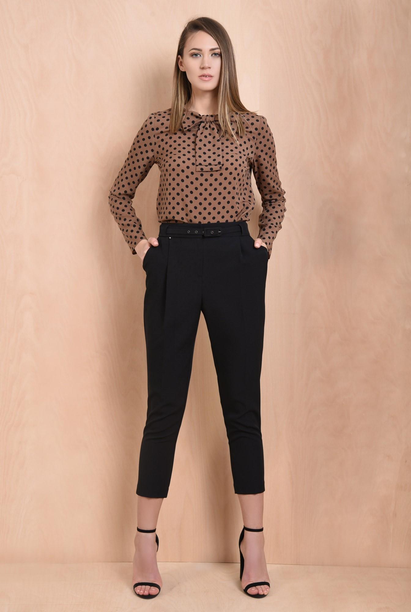 0 - pantaloni de zi, negri, office, de birou, centura ingusta