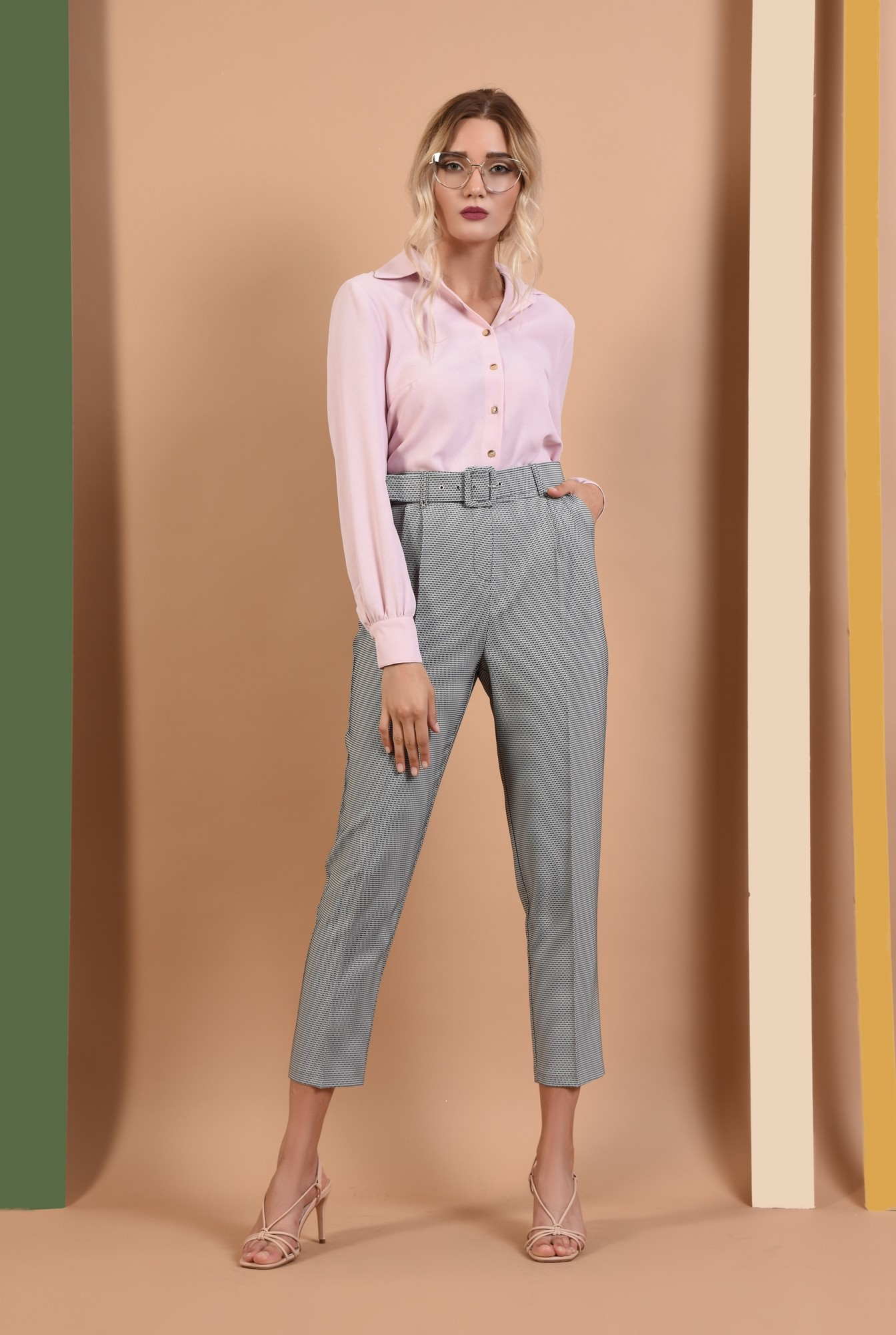 3 - 360 - pantaloni de toamna, imprimeu, curea, buzunare functionale